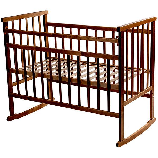 Кроватка-качалка, Мой Малыш, темныйДетские кроватки<br>Характеристики товара:<br><br>• возраст: с рождения;<br>• материал: дерево;<br>• спальное место: 120х60 см;<br>• размер кровати: 125х109х70 см;<br>• вес: 20 кг;<br>• страна производитель: Россия.<br><br>Кроватка-качалка Мой Малыш темная подходит для малышей с самого рождения. Благодаря пологим основаниям она поможет укачать и убаюкать кроху. На основаниях предусмотрены отверстия для крепления колес при необходимости (колеса приобретаются отдельно). Кровать выполнена из натурального дерева и хорошо отшлифована.<br><br>Кроватку-качалку Мой Малыш темную можно приобрести в нашем интернет-магазине.<br><br>Ширина мм: 1235<br>Глубина мм: 775<br>Высота мм: 170<br>Вес г: 20000<br>Возраст от месяцев: 0<br>Возраст до месяцев: 36<br>Пол: Унисекс<br>Возраст: Детский<br>SKU: 5582066