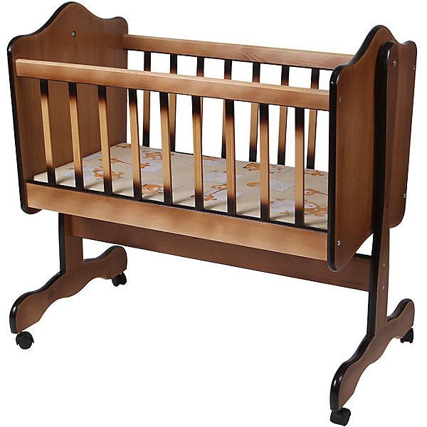 Кроватка-колыбель, Счастливый Малыш,  ореховыйКолыбели-люльки для новорожденных<br>Характеристики товара:<br><br>• возраст: с рождения;<br>• материал: дерево;<br>• размер спального места: 90х45 см;<br>• размер упаковки: 124х60х16,5 см;<br>• вес упаковки: 18 кг;<br>• страна производитель: Россия.<br><br>Кроватка-колыбель Счастливый малыш орех — удобная колыбелька для малыша с рождения. Маятник поперечного качания позволяет укачивать новорожденного малыша. Боковые ограждения закрыты силиконовыми накладками для предотвращения травм. 4 колеса облегчают перемещение по комнате. Кровать изготовлена из натурального дерева — массива березы, хорошо отшлифована и не имеет острых углов.<br><br>Кроватку-колыбель Счастливый малыш орех можно приобрести в нашем интернет-магазине.<br><br>Ширина мм: 950<br>Глубина мм: 580<br>Высота мм: 220<br>Вес г: 18000<br>Возраст от месяцев: 0<br>Возраст до месяцев: 36<br>Пол: Унисекс<br>Возраст: Детский<br>SKU: 5582067