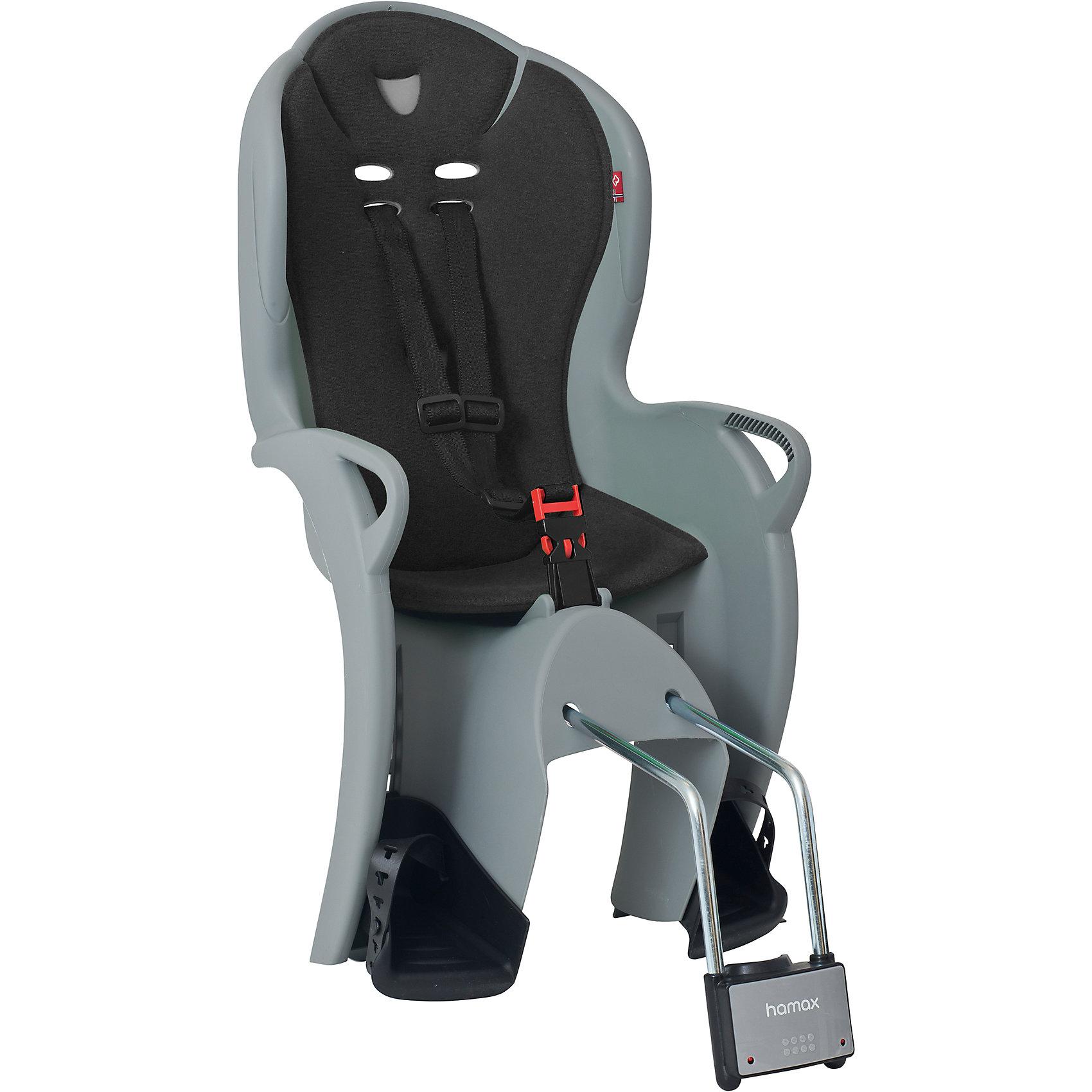 Детское велокресло Kiss, Hamax, серыйАксеcсуары для велосипедов<br>Характеристики товара:<br><br>• цвет: серый<br>• возраст: от 9 мес.<br>• ограничение по весу: до 22кг<br>• безопасный и простой монтаж<br>• регулируемый ремень безопасности и опоры<br>• пояс-пряжка не может быть открыт ребенком<br>• высокая задняя опора<br>• установка на раму с диаметром трубы 28-40 мм<br>• тросики в области крепления не помешают установке<br>• материал: полипропилен, текстиль, металл<br>• страна бренда: Польша<br>• вес: 3590гр<br>• размер: 38х79х35см<br><br>Функциональное и удобное велокресло Hamax Kiss обеспечит комфорт и безопасность вашему ребенку во время велопрогулок.<br><br>Hamax рекомендует, что ребенок должен всегда носить шлем при использовании детского сиденья.<br><br>Детское велокресло Kiss, Hamax, серый можно купить в нашем интернет-магазине.<br><br>Ширина мм: 380<br>Глубина мм: 790<br>Высота мм: 350<br>Вес г: 3590<br>Возраст от месяцев: 9<br>Возраст до месяцев: 48<br>Пол: Унисекс<br>Возраст: Детский<br>SKU: 5582598