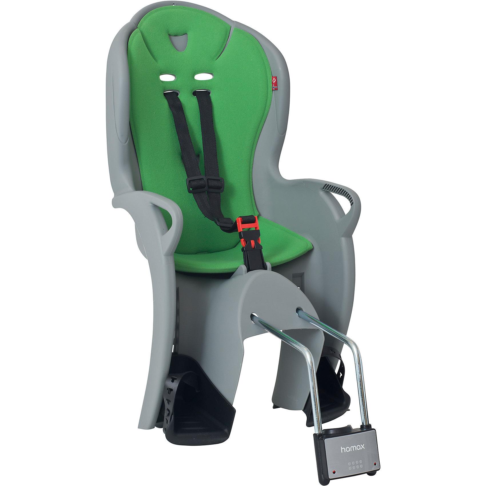 Детское велокресло Kiss, Hamax, серый/зеленыйАксеcсуары для велосипедов<br>Характеристики товара:<br><br>• цвет: серый, зеленый<br>• возраст: от 9 мес.<br>• ограничение по весу: до 22кг<br>• безопасный и простой монтаж<br>• регулируемый ремень безопасности и опоры<br>• пояс-пряжка не может быть открыт ребенком<br>• высокая задняя опора<br>• установка на раму с диаметром трубы 28-40 мм<br>• тросики в области крепления не помешают установке<br>• материал: полипропилен, текстиль, металл<br>• страна бренда: Польша<br>• вес: 3590гр<br>• размер: 38х79х35см<br><br>Функциональное и удобное велокресло Hamax Kiss обеспечит комфорт и безопасность вашему ребенку во время велопрогулок.<br><br>Hamax рекомендует, что ребенок должен всегда носить шлем при использовании детского сиденья.<br><br>Детское велокресло Kiss, Hamax, серый можно купить в нашем интернет-магазине.<br><br>Ширина мм: 380<br>Глубина мм: 790<br>Высота мм: 350<br>Вес г: 3590<br>Возраст от месяцев: 9<br>Возраст до месяцев: 48<br>Пол: Унисекс<br>Возраст: Детский<br>SKU: 5582599