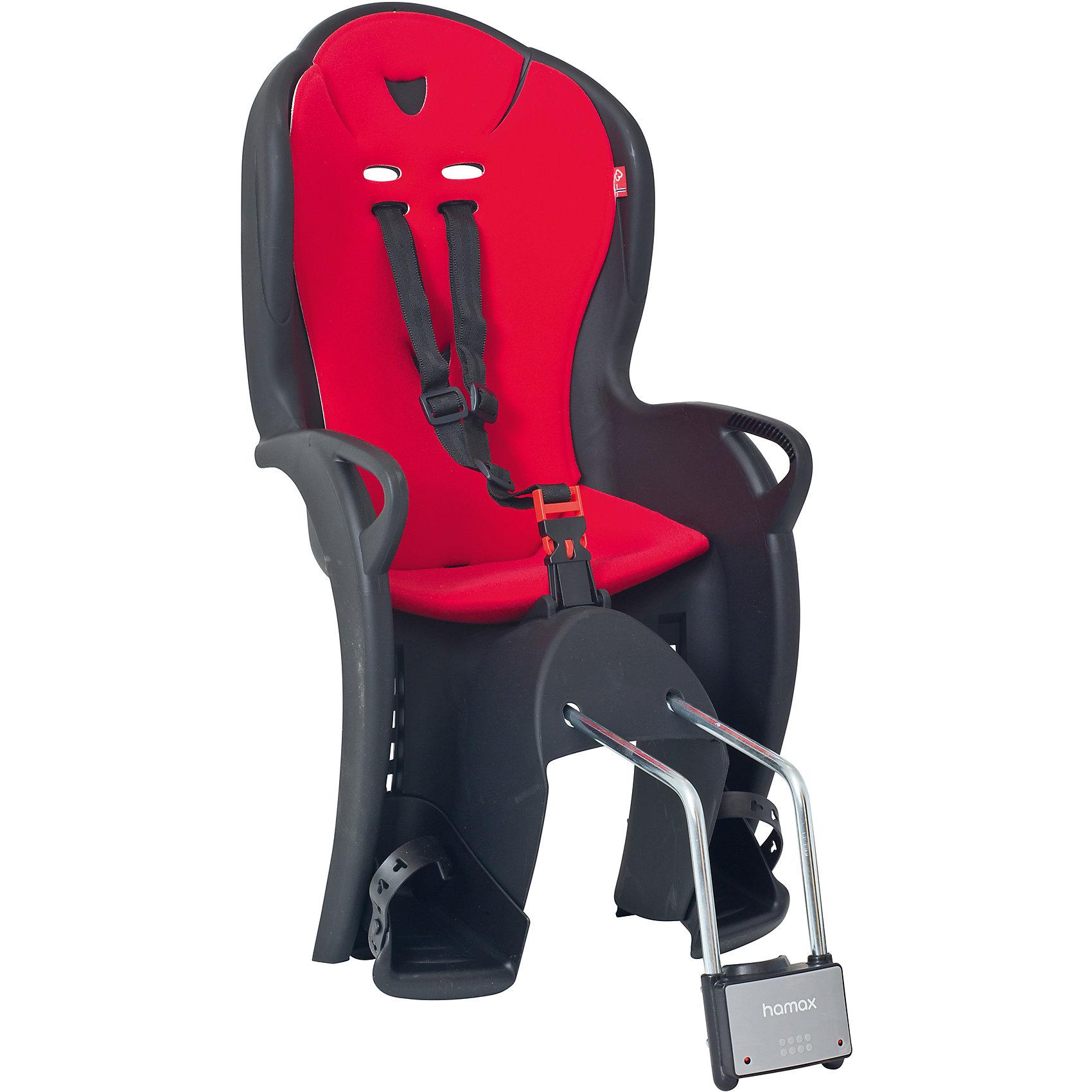 Детское велокресло Kiss, Hamax, черный/красныйАксеcсуары для велосипедов<br>Характеристики товара:<br><br>• цвет: черный, красный<br>• возраст: от 9 мес.<br>• ограничение по весу: до 22кг<br>• безопасный и простой монтаж<br>• регулируемый ремень безопасности и опоры<br>• пояс-пряжка не может быть открыт ребенком<br>• высокая задняя опора<br>• установка на раму с диаметром трубы 28-40 мм<br>• тросики в области крепления не помешают установке<br>• материал: полипропилен, текстиль, металл<br>• страна бренда: Польша<br>• вес: 3590гр<br>• размер: 38х79х35см<br><br>Функциональное и удобное велокресло Hamax Kiss обеспечит комфорт и безопасность вашему ребенку во время велопрогулок.<br><br>Hamax рекомендует, что ребенок должен всегда носить шлем при использовании детского сиденья.<br><br>Детское велокресло Kiss, Hamax, черный/красный можно купить в нашем интернет-магазине.<br><br>Ширина мм: 380<br>Глубина мм: 790<br>Высота мм: 350<br>Вес г: 3590<br>Возраст от месяцев: 9<br>Возраст до месяцев: 48<br>Пол: Унисекс<br>Возраст: Детский<br>SKU: 5582600