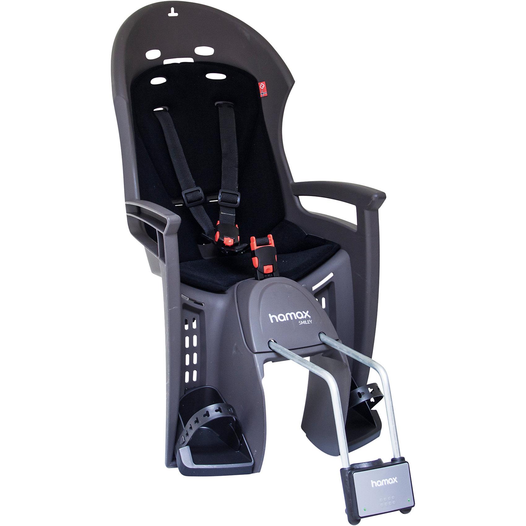 Детское велокресло Smiley W/lockable Bracket, Hamax, серый/черныйАксеcсуары для велосипедов<br>Характеристики товара:<br><br>• цвет: черный, серый<br>• возраст: от 9 мес.<br>• ограничение по весу: до 22кг<br>• эргономичный дизайн с дополнительным местом для шлема<br>• регулируемая система подножек и ремней безопасности<br>• пояс-пряжка не может быть открыт ребенком<br>• крепёжный кронштейн с замком<br>• может крепиться на велосипед, даже если на нём нет багажника<br>• надёжность и простота подгонки<br>• материал: полипропилен, текстиль, металл<br>• страна бренда: Польша<br>• вес: 3750гр<br>• размер: 38х82х31см<br><br><br>Эргономичный дизайн велокресла Hamax с дополнительным местом для шлема и обтекаемой формы обеспечит безопасность ребенка во время велопрогулок на свежем воздухе. <br><br>Система ремней безопасности крепится в трёх точках и имеет на груди дополнительную застёжку, позволяющую фиксировать ребёнка на сидении в удобном и безопасном положении.<br><br>Может крепиться на велосипед, даже если на нём нет багажника.<br><br>Детское велокресло Smiley W/lockable Bracket, Hamax, серый/черный можно купить в нашем интернет-магазине.<br><br>Ширина мм: 380<br>Глубина мм: 820<br>Высота мм: 300<br>Вес г: 3740<br>Возраст от месяцев: 9<br>Возраст до месяцев: 48<br>Пол: Унисекс<br>Возраст: Детский<br>SKU: 5582601