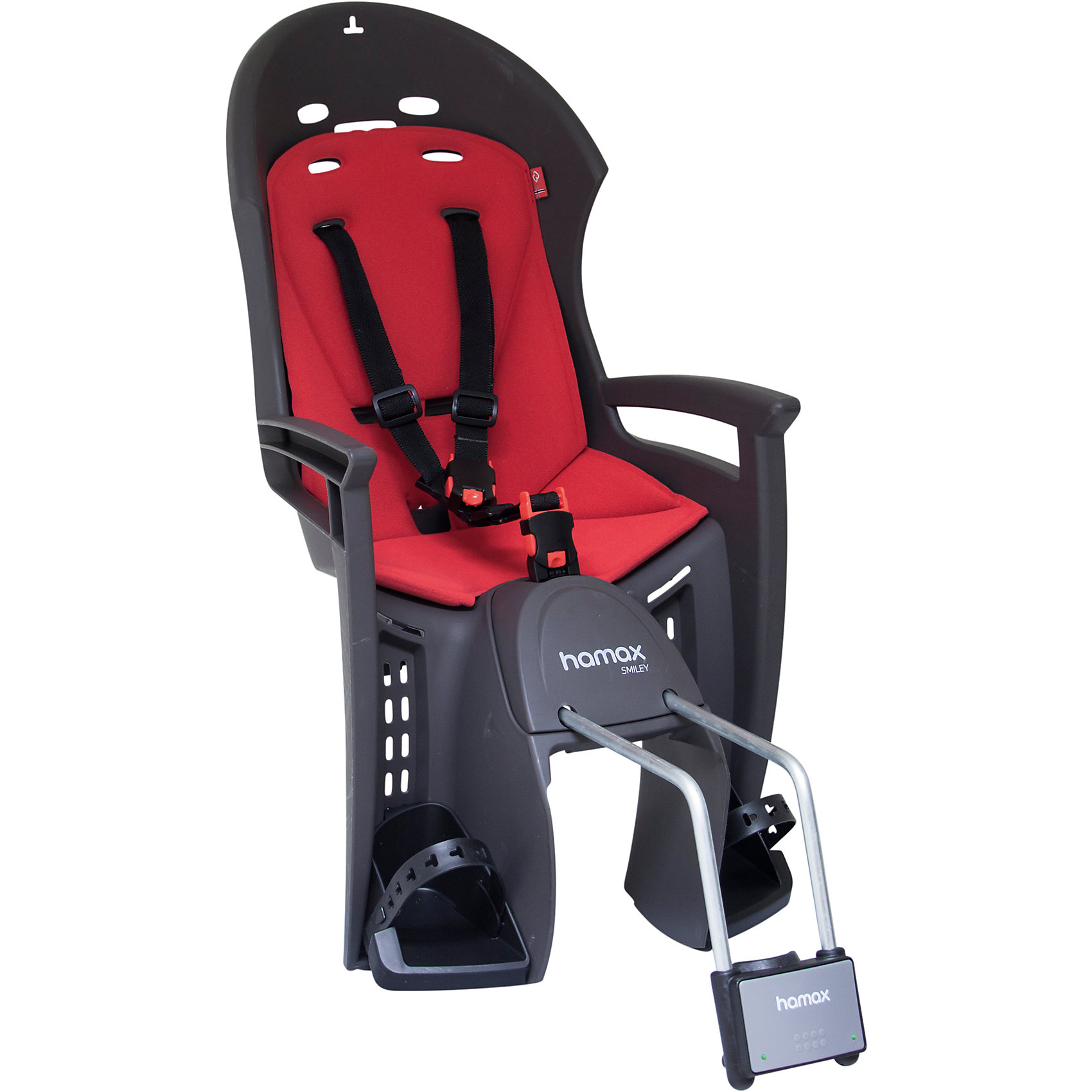 Детское велокресло Smiley W/lockable Bracket, Hamax, серый/красныйАксеcсуары для велосипедов<br>Характеристики товара:<br><br>• цвет: красный, серый<br>• возраст: от 9 мес.<br>• ограничение по весу: до 22кг<br>• эргономичный дизайн с дополнительным местом для шлема<br>• регулируемая система подножек и ремней безопасности<br>• пояс-пряжка не может быть открыт ребенком<br>• крепёжный кронштейн с замком<br>• может крепиться на велосипед, даже если на нём нет багажника<br>• надёжность и простота подгонки<br>• материал: полипропилен, текстиль, металл<br>• страна бренда: Польша<br>• вес: 3750гр<br>• размер: 38х82х31см<br><br><br>Эргономичный дизайн велокресла Hamax с дополнительным местом для шлема и обтекаемой формы обеспечит безопасность ребенка во время велопрогулок на свежем воздухе. <br><br>Система ремней безопасности крепится в трёх точках и имеет на груди дополнительную застёжку, позволяющую фиксировать ребёнка на сидении в удобном и безопасном положении.<br><br>Может крепиться на велосипед, даже если на нём нет багажника.<br><br>Детское велокресло Smiley W/lockable Bracket, Hamax, серый/красный можно купить в нашем интернет-магазине.<br><br>Ширина мм: 380<br>Глубина мм: 820<br>Высота мм: 300<br>Вес г: 3740<br>Возраст от месяцев: 9<br>Возраст до месяцев: 48<br>Пол: Унисекс<br>Возраст: Детский<br>SKU: 5582602