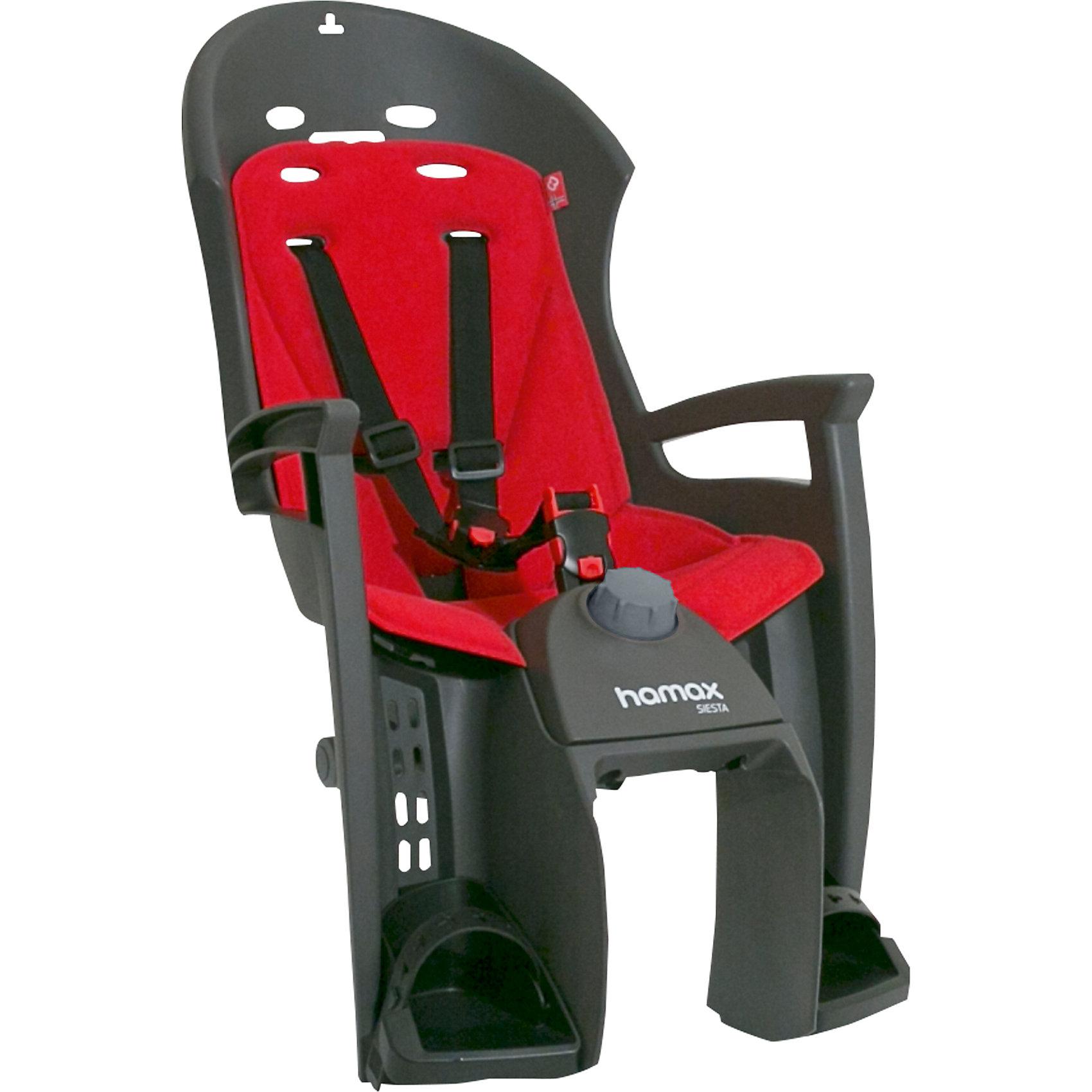 Детское велокресло 2017 Siesta W/Carrier Adapter, Hamax, серый-красныйАксеcсуары для велосипедов<br>Характеристики товара:<br><br>• цвет: серый, красный<br>• регулировка наклона спинки-спальной позиции (20°)<br>• запираемый кронштейн крепления<br>• 3-точечные ремни безопасности <br>• фиксация ремней для предотвращения саморастегвания ребенком<br>• можно установить на любом велосипеде как с багажником, так и без<br>• возраст: от 9 месяцев и весом до 22 кг.<br>• регулируемый ремень безопасности и подножки<br>• подходит для рамы велосипеда диаметром от 28 до 40 мм<br>• материал: полипропилен, текстиль, металл<br>• страна бренда: Польша<br>• вес: 3740гр<br>• размер: 38х82х30см<br><br>Отличительные особенности Hamax Siesta : функция регулировки угла наклона для комфортного отдыха и сна ребенка и замок фиксации кресла на велосипеде.<br><br>Спальная функция данного кресла позволяет осуществить наклон назад  ( до 20 ° ) для более комфортного и удобного положения ребенка для отдыха / или сна. <br><br>Дополнительные мягкие пряжки для фиксации ребенка в кресле очень легкие и комфортные, но при этом обеспечивают надежную фиксацию ребенка в велокресле, позволяя при необходимости совершать резкие маневры и торможения. <br><br>Эргономика велокресла расчитанна так что спинка кресла не будет мешать голове ребенка в моменты когда он хочет откинуться назад кресла в шлеме.<br><br>Все детские велосиденья Hamax  растут вместе с ребенком!  Регулируются ремень безопасности и подножки.<br><br>Hamax рекомендует, что ребенок должен всегда носить шлем при использовании детского сиденья.<br><br>Детское велокресло 2017 Siesta W/Carrier Adapter, Hamax, серый-красный можно купить в нашем интернет-магазине.<br><br>Ширина мм: 380<br>Глубина мм: 820<br>Высота мм: 300<br>Вес г: 3740<br>Возраст от месяцев: 9<br>Возраст до месяцев: 48<br>Пол: Унисекс<br>Возраст: Детский<br>SKU: 5582603