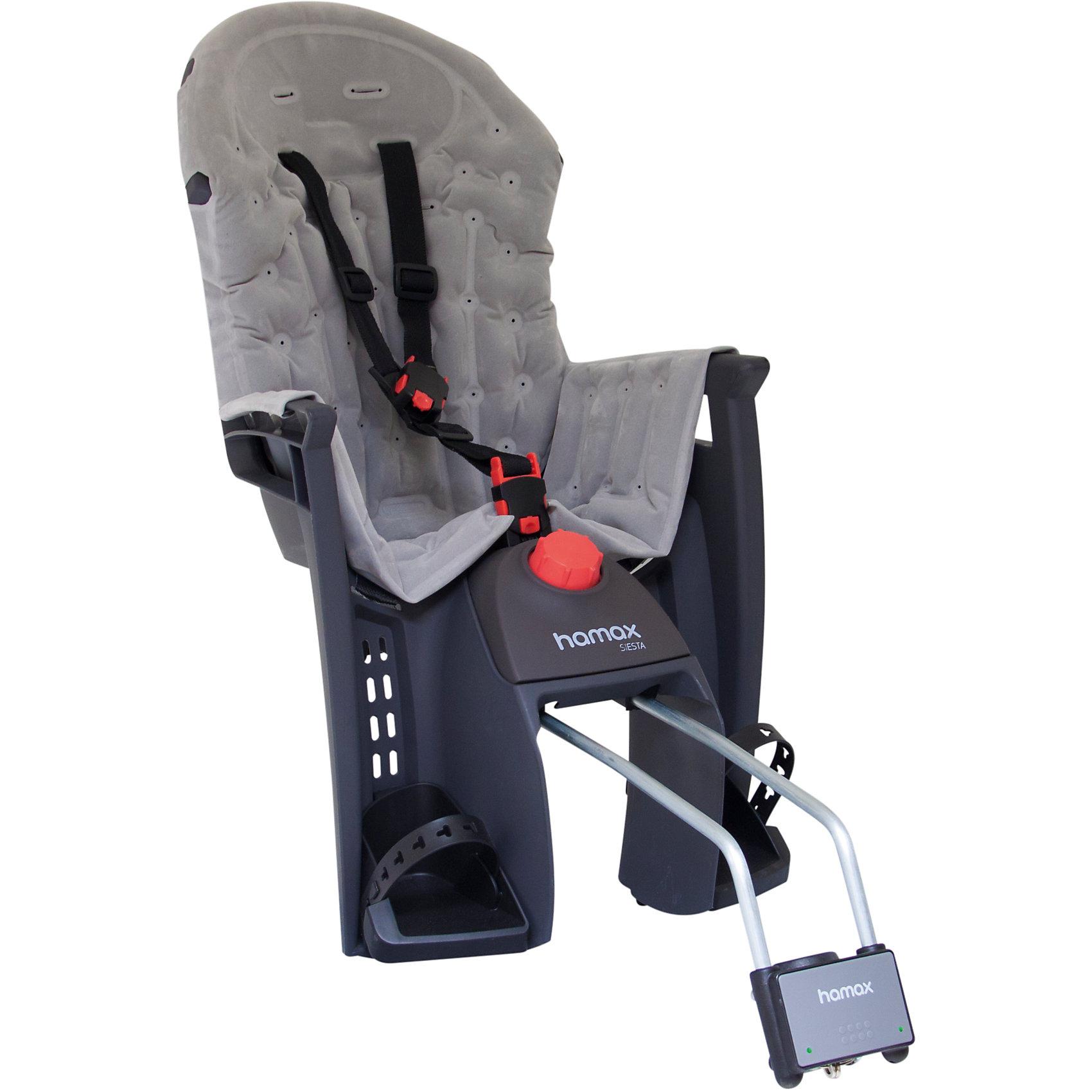 Детское велокресло Siesta Premium W/lockable Bracket, Hamax, серый/серыйАксеcсуары для велосипедов<br>Характеристики товара:<br><br>• цвет: серый<br>• регулировка наклона спинки-спальной позиции (20°)<br>• запираемый кронштейн крепления<br>• 3-точечные ремни безопасности <br>• фиксация ремней для предотвращения саморастегвания ребенком<br>• возраст: от 9 месяцев и весом до 22 кг.<br>• регулируемый ремень безопасности и подножки<br>• подходит для рамы велосипеда диаметром от 28 до 40 мм<br>• материал: полипропилен, текстиль, металл<br>• страна бренда: Польша<br>• вес: 4340гр<br>• размер: 38х82х30см<br><br>Отличительные особенности Hamax Siesta : функция регулировки угла наклона для комфортного отдыха и сна ребенка и замок фиксации кресла на велосипеде.<br><br>Дополнительные мягкие пряжки для фиксации ребенка в кресле очень легкие и комфортные, но при этом обеспечивают надежную фиксацию ребенка в велокресле.<br><br>Эргономика велокресла расчитанна так что спинка кресла не будет мешать голове ребенка в моменты когда он хочет откинуться назад кресла в шлеме.<br><br>Hamax рекомендует, что ребенок должен всегда носить шлем при использовании детского сиденья.<br><br>Детское велокресло Siesta Premium W/lockable Bracket, Hamax, серый/серый можно купить в нашем интернет-магазине.<br><br>Ширина мм: 380<br>Глубина мм: 840<br>Высота мм: 300<br>Вес г: 4340<br>Возраст от месяцев: 9<br>Возраст до месяцев: 48<br>Пол: Унисекс<br>Возраст: Детский<br>SKU: 5582606