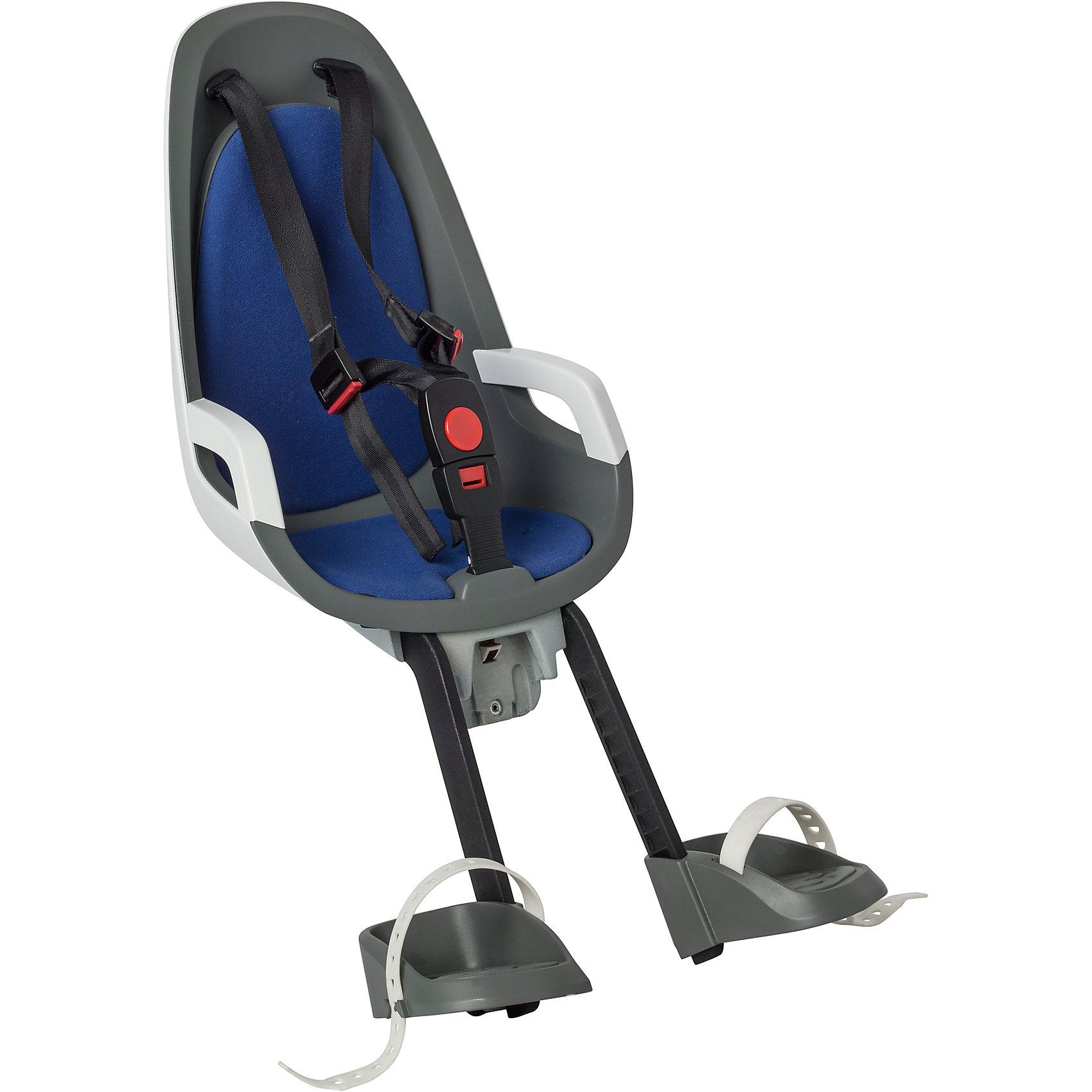 Детское велокресло Caress Observer, Hamax, серый/белый/синийАксеcсуары для велосипедов<br>Детское велосипедное кресло Hamax Caress Observer рассчитан на перевозку детей от 9 месяцев и по весу не превышающих 15 кг. Представленное кресло крепится перед рулем.<br>Hamax Caress Observer позволяет ребенку видеть перед собой полную картину происходящего. Установка кресла производится на рулевую колонку. Для крепления предусмотрен специальный кронштейн. Труба должна быть от 22 до 40 мм.<br>Велокресло Hamax удобное, с мягкой вставкой и оборудованное ремнями безопасности. Защелка у ремней надежная. Самостоятельно ребенок не сможет расстегнуть застежку. Опоры для ног регулируются по высоте.<br>Детское велокресло имеет небольшой вес- всего 4,3 кг. Позволяет брать ребенка с собой на велосипедные прогулки.br&gt;Особенности:<br>Крепление для передней части велосипеда<br>Хороший обзор для ребенка<br>Ремни безопасности<br>Надежный замок<br>Мягкий вкладыш<br>Опоры для ног с регулировкой<br>Крепление для труб от 22 до 40 мм.<br><br>Ширина мм: 300<br>Глубина мм: 660<br>Высота мм: 210<br>Вес г: 2200<br>Возраст от месяцев: 9<br>Возраст до месяцев: 48<br>Пол: Унисекс<br>Возраст: Детский<br>SKU: 5582608