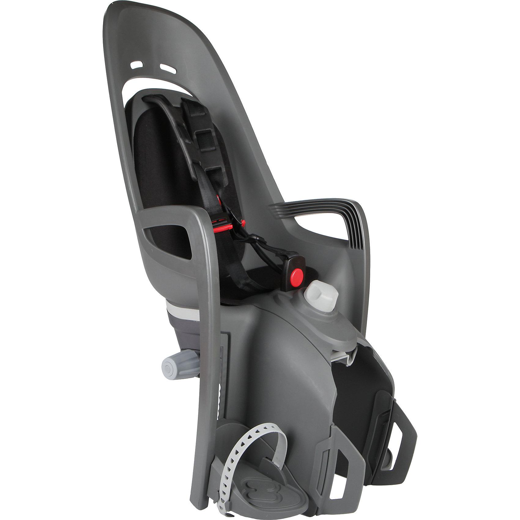 Детское велокресло 2017 Zenith Relax  W/ Carrier Adapter, Hamax, серый-черныйАксеcсуары для велосипедов<br>Характеристики товара:<br><br>• цвет: серый, черный<br>• для детей от 9 месяцев и весом до 22 кг<br>• наличие регулировки угла наклона велокресла в 12,5 градусов <br>• проработанная эргономика кресла для максимально комфортной посадки<br>• 3-точечные ремни безопасности с дополнительным кронштейном для фиксации в районе груди<br>• специальная конструкция пряжек ремней безопасности/фиксации для предотвращения саморастегвания ребенка<br>• полностью соответствующее всем Европейским стандартам безопасности<br>• возможность установить на любом велосипеде как с багажником, так и без<br>• регулируемый ремень безопасности и подножки<br>• регулировка подножек одной рукой<br>• мягкие плечевые пряжки ремней<br>• несущие дуги крепления велокресла обеспечивает отличную амортизацию<br>• подходит для подседельных труб рамы велосипеда диаметром от 28 до 40 мм. (круглые и овальные)<br>• система крепления велокресла не мешает тросам переключения передач<br>• вес: 3740гр.<br>• размер: 37х80х34см<br><br>Отличительные особенности  HAMAX ZENITH RELAX от Hamax ZENITH это наличие регулировки угла наклона кресла в 12,5 градусов.<br><br>Дополнительные мягкие пряжки для фиксации ребенка в кресле обеспечивают надежную фиксацию ребенка в велокресле, позволяя при необходимости совершать резкие маневры и торможения. <br><br>Эргономика велокресла расчитанна так что спинка кресла не будет мешать голове ребенка в моменты когда он хочет откинуться назад кресла в шлеме.<br><br>Все детские велосиденья Hamax растут вместе с ребенком!  Регулируються и ремень безопасности и подножки.<br><br>Детское сиденье для велосипеда очень легко крепится и освобождается от велосипеда. Приобретая дополнительный кронштейн, вы можете легко переставлять детское сиденьес одного велосипеда на другой.<br><br>Материал изготовления: PP - полипропилен ( безопасный и гипоалергенный ) УФ стабильный - не боится солнечного возд