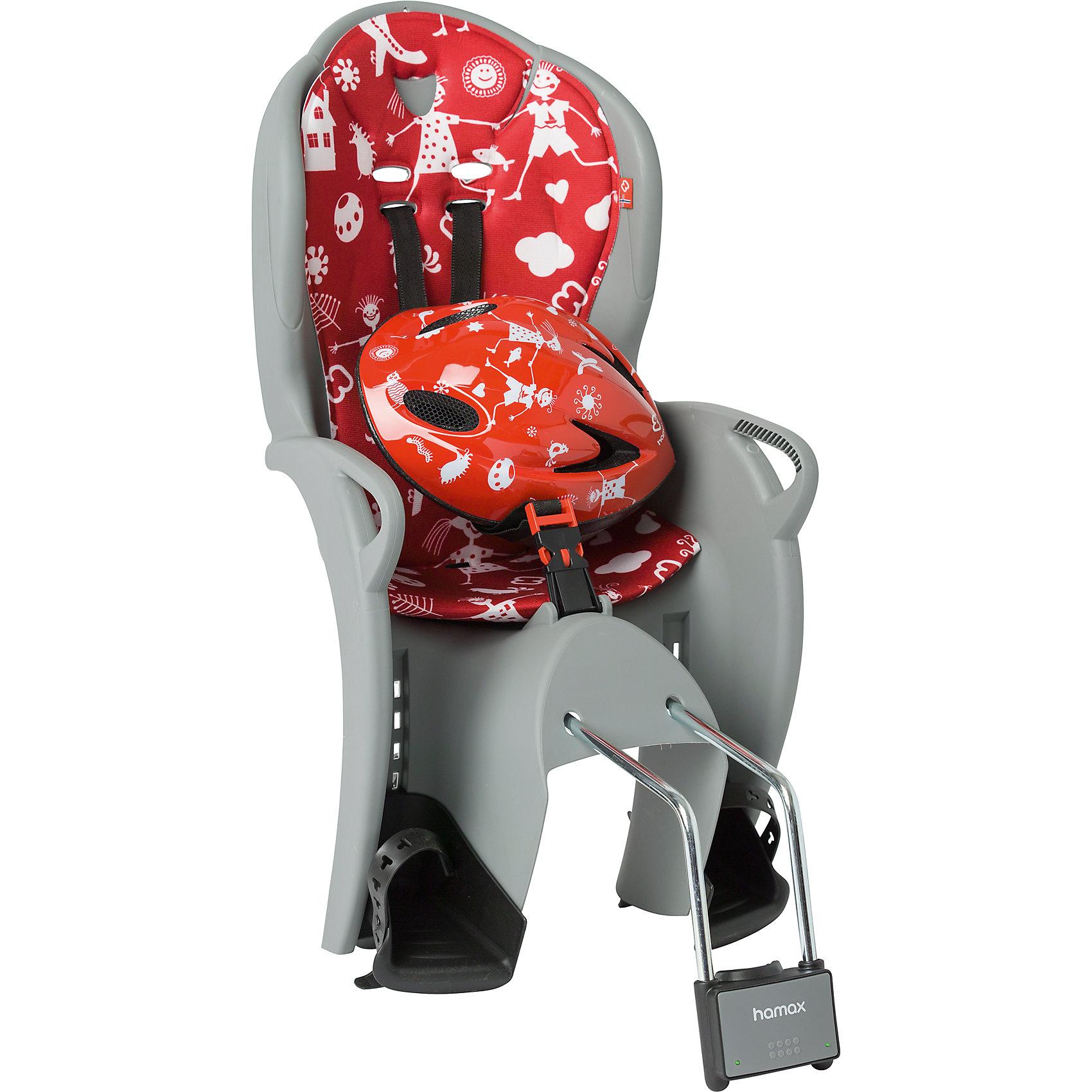 Детское велокресло Kiss Safety Package, Hamax, серый/красныйАксеcсуары для велосипедов<br>Характеристики товара:<br><br>• цвет: серый, красный<br>• комплект: велокресло, шлем (р48-52 см)<br>• конструкция пряжек ремней безопасности/фиксации для предотвращения <br>саморастегивания<br>• возможность установить на любом велосипеде как с багажником, так и без<br>• возраст: старше 9 месяцев и весом до 22 кг.<br>• регулируемый ремень безопасности и подножки.<br>• несущие дуги крепления велокресла обеспечивают отличную амортизацию<br>• подходит для подседельных труб рамы диаметром 28-40мм. (круглые и овальные)<br>• система крепления велокресла не мешает тросам переключения передач<br>• велокресло сертифицировано по: T?V / GS EN14344<br>• размеры 39х80х41см<br>• вес: 4,6кг<br>• материал: пластик, текстиль<br>• страна бренда: Польша<br><br>Эргономика велокресла Kiss Safety Package, Hamax расчитанна так что спинка кресла не будет мешать голове ребенка в моменты когда он хочет откинуться назад кресла в шлеме.<br><br>Механизмы регулировки застежек позволяют комфортно отрегулировать их вместе с ростом ребенка.<br><br>Все детские велосиденья Hamax  растут вместе с ребенком!  Регулируются и ремень безопасности и подножки.<br><br>Приобретая дополнительный кронштейн, вы можете легко переставлять детское сиденье с одного велосипеда на другой. <br><br>Hamax рекомендует, что ребенок должен всегда носить шлем при использовании детского сиденья.<br><br>Детское велокресло Kiss Safety Package, Hamax, серый/красный можно купить в нашем интернет-магазине.<br><br>Ширина мм: 380<br>Глубина мм: 790<br>Высота мм: 350<br>Вес г: 3700<br>Возраст от месяцев: 9<br>Возраст до месяцев: 48<br>Пол: Унисекс<br>Возраст: Детский<br>SKU: 5582632