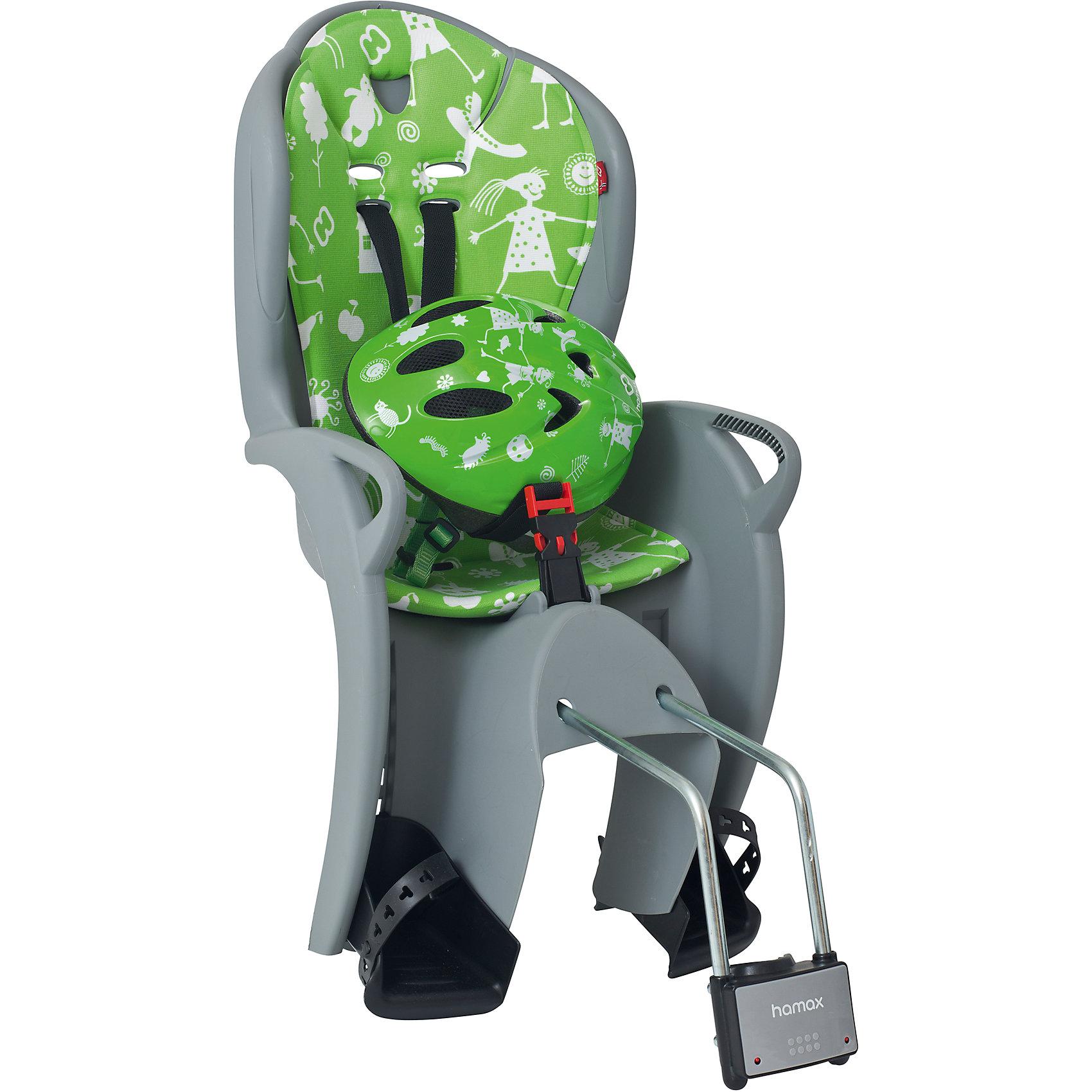 Детское велокресло Kiss Safety Package, Hamax, серый/зеленыйАксеcсуары для велосипедов<br>Характеристики товара:<br><br>• цвет: серый, зеленый<br>• комплект: велокресло, шлем (р48-52 см)<br>• конструкция пряжек ремней безопасности/фиксации для предотвращения <br>саморастегивания<br>• возможность установить на любом велосипеде как с багажником, так и без<br>• возраст: старше 9 месяцев и весом до 22 кг.<br>• регулируемый ремень безопасности и подножки.<br>• несущие дуги крепления велокресла обеспечивают отличную амортизацию<br>• подходит для подседельных труб рамы диаметром 28-40мм. (круглые и овальные)<br>• система крепления велокресла не мешает тросам переключения передач<br>• велокресло сертифицировано по: T?V / GS EN14344<br>• размеры 39х80х41см<br>• вес: 4,6кг<br>• материал: пластик, текстиль<br>• страна бренда: Польша<br><br>Эргономика велокресла Kiss Safety Package, Hamax расчитанна так что спинка кресла не будет мешать голове ребенка в моменты когда он хочет откинуться назад кресла в шлеме.<br><br>Механизмы регулировки застежек позволяют комфортно отрегулировать их вместе с ростом ребенка.<br><br>Все детские велосиденья Hamax  растут вместе с ребенком!  Регулируются и ремень безопасности и подножки.<br><br>Приобретая дополнительный кронштейн, вы можете легко переставлять детское сиденье с одного велосипеда на другой. <br><br>Hamax рекомендует, что ребенок должен всегда носить шлем при использовании детского сиденья.<br><br>Детское велокресло Kiss Safety Package, Hamax, серый/зеленый можно купить в нашем интернет-магазине.<br><br>Ширина мм: 380<br>Глубина мм: 790<br>Высота мм: 350<br>Вес г: 3700<br>Возраст от месяцев: 9<br>Возраст до месяцев: 48<br>Пол: Унисекс<br>Возраст: Детский<br>SKU: 5582633