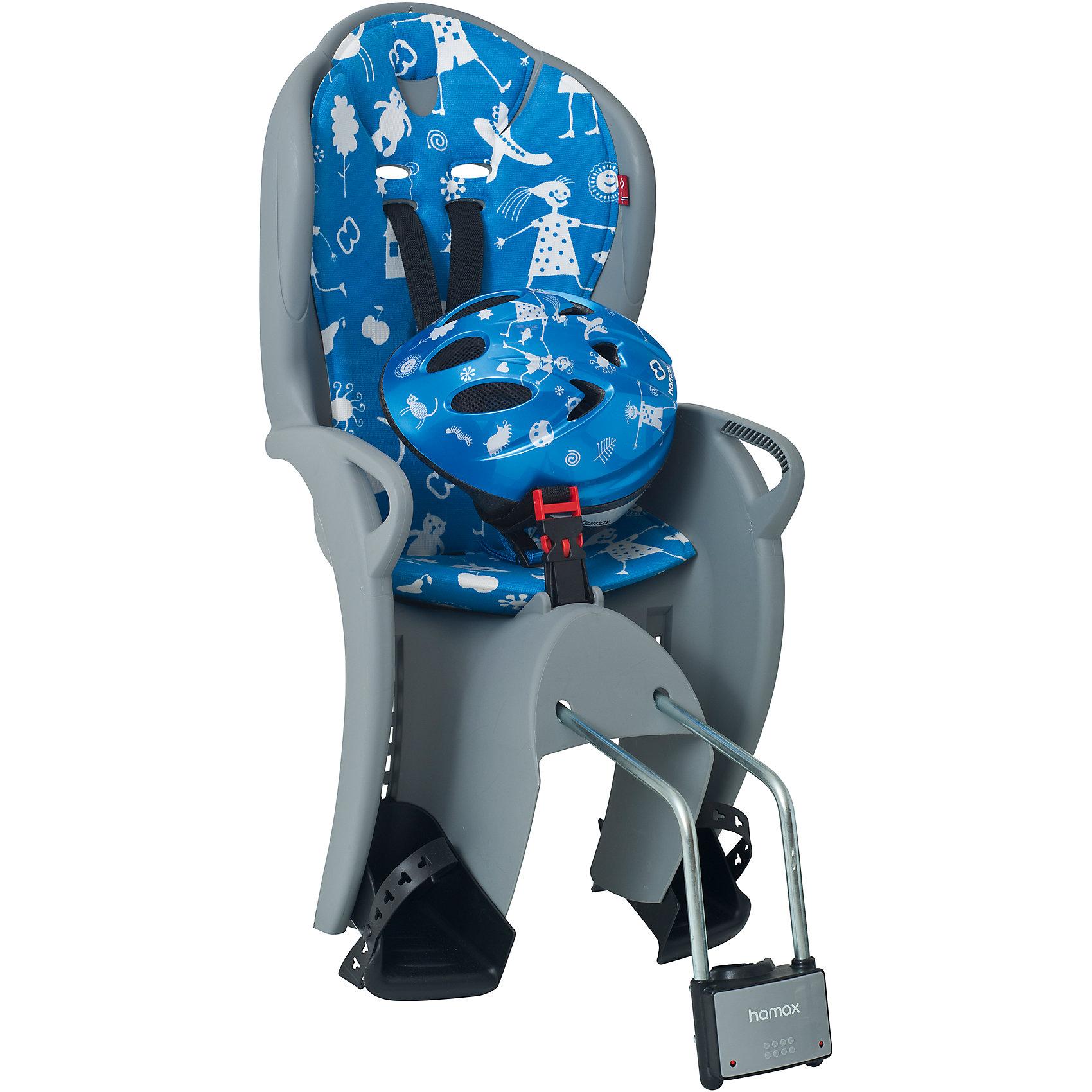 Детское велокресло Kiss Safety Package, Hamax, серый/синийАксеcсуары для велосипедов<br>Характеристики товара:<br><br>• цвет: серый, синий<br>• комплект: велокресло, шлем (р48-52 см)<br>• конструкция пряжек ремней безопасности/фиксации для предотвращения <br>саморастегивания<br>• возможность установить на любом велосипеде как с багажником, так и без<br>• возраст: старше 9 месяцев и весом до 22 кг.<br>• регулируемый ремень безопасности и подножки.<br>• несущие дуги крепления велокресла обеспечивают отличную амортизацию<br>• подходит для подседельных труб рамы диаметром 28-40мм. (круглые и овальные)<br>• система крепления велокресла не мешает тросам переключения передач<br>• велокресло сертифицировано по: T?V / GS EN14344<br>• размеры 39х80х41см<br>• вес: 4,6кг<br>• материал: пластик, текстиль<br>• страна бренда: Польша<br><br>Эргономика велокресла Kiss Safety Package, Hamax расчитанна так что спинка кресла не будет мешать голове ребенка в моменты когда он хочет откинуться назад кресла в шлеме.<br><br>Механизмы регулировки застежек позволяют комфортно отрегулировать их вместе с ростом ребенка.<br><br>Все детские велосиденья Hamax  растут вместе с ребенком!  Регулируются и ремень безопасности и подножки.<br><br>Приобретая дополнительный кронштейн, вы можете легко переставлять детское сиденье с одного велосипеда на другой. <br><br>Hamax рекомендует, что ребенок должен всегда носить шлем при использовании детского сиденья.<br><br>Детское велокресло Kiss Safety Package, Hamax, серый/синий можно купить в нашем интернет-магазине.<br><br>Ширина мм: 380<br>Глубина мм: 790<br>Высота мм: 350<br>Вес г: 3700<br>Возраст от месяцев: 9<br>Возраст до месяцев: 48<br>Пол: Унисекс<br>Возраст: Детский<br>SKU: 5582634