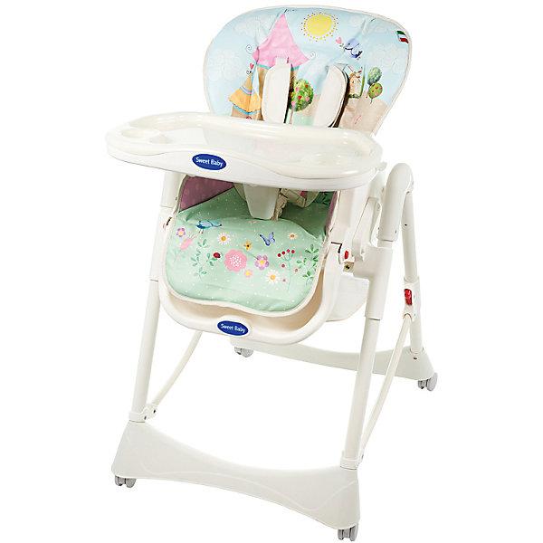 Стульчик для кормления Happy, Sweet Baby, LandСтульчики для кормления с 0 месяцев<br>Характеристики товара:<br><br>• цвет: Land<br>• используется в качестве стульчика для кормления или шезлонга для сна<br>• наклон спинки регулируется, устанавливается в горизонтальное положение<br>• регулируемая по высоте спинка (5 уровней)<br>• сетчато-текстильная корзина для аксессуаров<br>• 5-точечные ремни безопасности с надежным замком и мягкими накладками<br>• 3 позиции глубины подноса<br>• съемная верхняя накладка на поднос и 2 углубления для бутылочек<br>• 4 колеса со стоперами<br>• компактные размеры и устойчивость в сложенном виде<br>• возраст: от 0 месяцев<br>• материал рамы: металл, пластик<br>• страна производства: Китай<br>• вес: 11 кг<br>• размер упаковки: 48х27.5х73 см<br><br>Стульчик для кормления Sweet Baby Happy имеет уникальный дизайн, который удачно впишется в Ваш интерьер и окунет ребенка в мир фантазий. <br><br>В подарок к Sweet Baby Happy идет мягкий вкладыш, который предназначен для удобного и комфортного нахождения новорожденного в стульчике.<br><br>Столешница стульчика для кормления сделана из прочного пластика и имеет отделения для посуды. Здесь вы сможете разместить сразу несколько тарелок и стаканчик с водой для ребенка, не переживая за то, что что-то может опрокинуться или разлиться.<br><br>Стульчик для кормления Happy, Sweet Baby, Land можно купить в нашем интернет-магазине.<br>Ширина мм: 475; Глубина мм: 725; Высота мм: 275; Вес г: 12500; Возраст от месяцев: 0; Возраст до месяцев: 36; Пол: Унисекс; Возраст: Детский; SKU: 5583532;