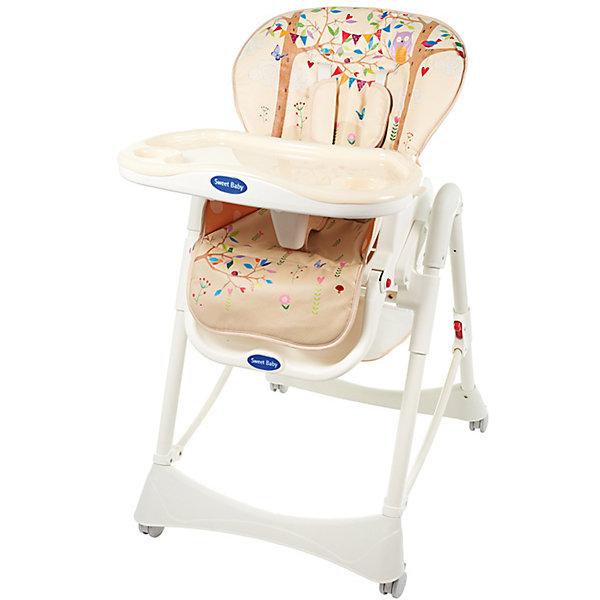 Стульчик для кормления Wonder, Sweet Baby, LandСтульчики для кормления<br>Характеристики товара:<br><br>• цвет: Land<br>• используется в качестве стульчика для кормления или шезлонга для сна<br>• наклон спинки регулируется, устанавливается в горизонтальное положение<br>• регулируемая по высоте спинка (5 уровней)<br>• сетчато-текстильная корзина для аксессуаров<br>• 5-точечные ремни безопасности с надежным замком и мягкими накладками<br>• 3 позиции глубины подноса<br>• съемная верхняя накладка на поднос и 2 углубления для бутылочек<br>• 4 колеса со стоперами<br>• компактные размеры и устойчивость в сложенном виде<br>• возраст: от 0 месяцев<br>• материал рамы: металл, пластик<br>• страна производства: Китай<br>• вес: 11 кг<br>• размер упаковки: 48х27.5х73 см<br><br>Стульчик для кормления Sweet Baby Wonder имеет уникальный дизайн, который удачно впишется в Ваш интерьер и окунет ребенка в мир фантазий. <br><br>В подарок к Sweet Baby Wonder идет мягкий вкладыш, который предназначен для удобного и комфортного нахождения новорожденного в стульчике.<br><br>Столешница стульчика для кормления сделана из прочного пластика и имеет отделения для посуды. Разместив стаканчик с водой для ребенка, можно не переживать за то, что что-то может опрокинуться или разлиться.<br><br>Стульчик для кормления Wonder, Sweet Baby, Land можно купить в нашем интернет-магазине.<br><br>Ширина мм: 475<br>Глубина мм: 725<br>Высота мм: 275<br>Вес г: 12500<br>Возраст от месяцев: 0<br>Возраст до месяцев: 36<br>Пол: Унисекс<br>Возраст: Детский<br>SKU: 5583534