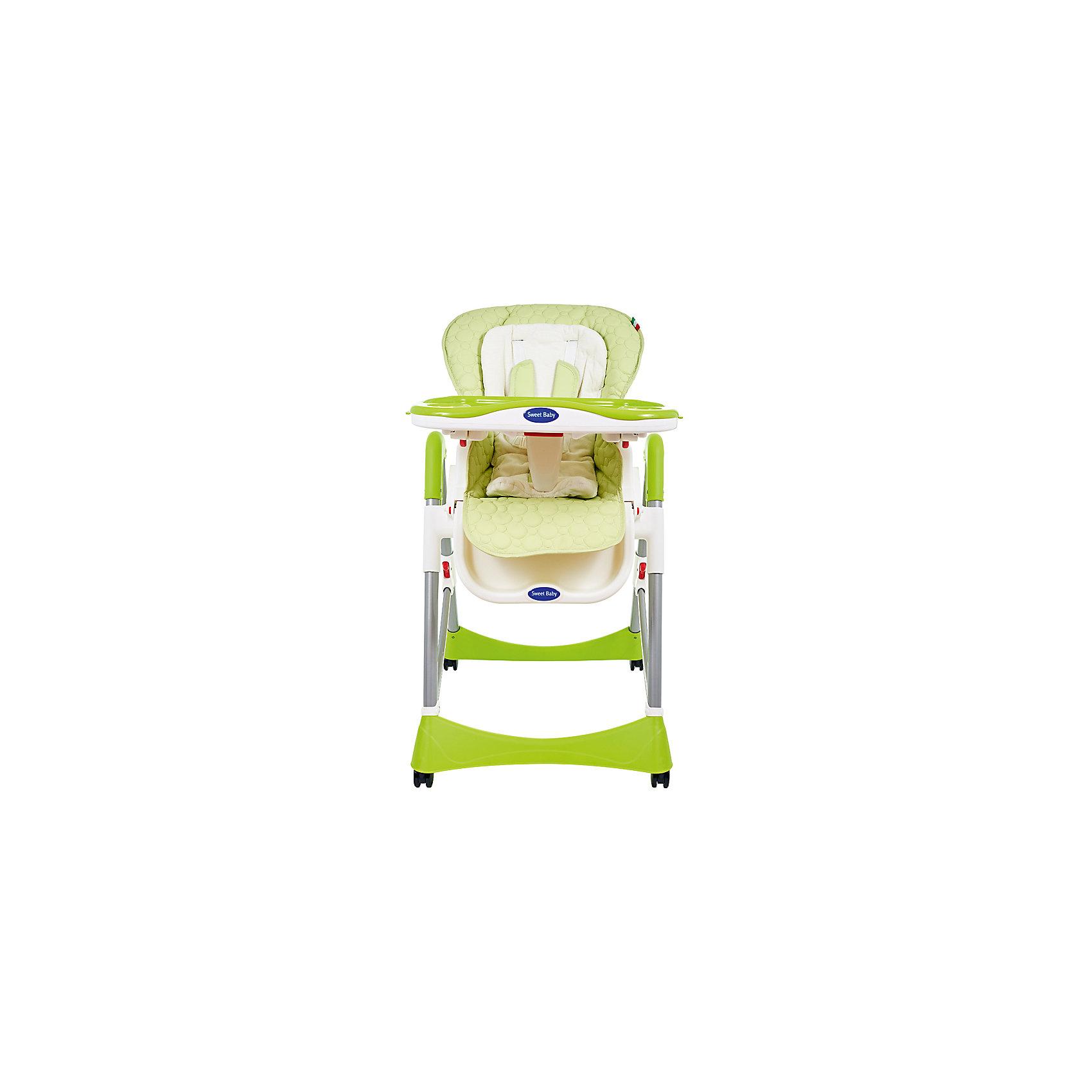 Стульчик для кормления Royal Classic, Sweet Baby, Melaот рождения<br>Характеристика товара:<br><br>• цвет: Mela (зеленый)<br>• используется в качестве стульчика для кормления или шезлонга для сна<br>• регулируемая спинка - 3 позиции, максимальный угол наклона 150 градусов<br>• регулируемая по наклону подножка (3 положения)<br>• чехол из экокожи (снимается)<br>• вкладыш из гипоаллергенной ткани (снимается)<br>• сетчато-текстильная корзина для аксессуаров<br>• 5-точечные ремни безопасности с надежным замком и мягкими накладками<br>• съемная верхняя накладка на поднос и 2 углубления для посуды<br>• 4 колеса со стоперами<br>• компактные размеры и устойчивость в сложенном виде<br>• возраст: от 0 месяцев<br>• материал рамы: металл, пластик<br>• вес - 10,6 кг<br>• размер (ДхШхВ) - 59х79х102 см<br><br>Стульчик для кормления Sweet Baby Royal Classic - идеальное сочетание функциональности и удобства.<br><br>Эта практичная модель, которая имеет немало полезных функций, которые позволяют использовать ее не только в качестве обычного стульчика для кормления, но и как место для отдыха малыша.<br><br>Стульчик для кормления Sweet Baby Royal Classic можно купить в нашем интернет-магазине.<br><br>Ширина мм: 475<br>Глубина мм: 725<br>Высота мм: 275<br>Вес г: 12200<br>Возраст от месяцев: 0<br>Возраст до месяцев: 36<br>Пол: Унисекс<br>Возраст: Детский<br>SKU: 5583537