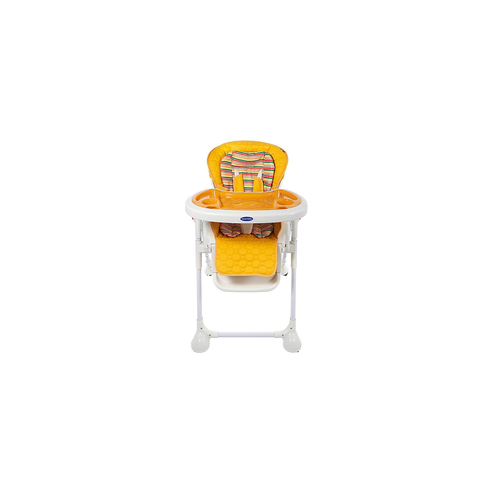 Стульчик для кормления Luxor Strip, Sweet Baby, Arancioneот рождения<br>Характеристика товара:<br><br>• цвет: Arancione (оранжевый)<br>• используется в качестве стульчика для кормления или шезлонга для сна<br>• наклон спинки регулируется, устанавливается в горизонтальное положение<br>• регулируемая по высоте спинка (5 уровней)<br>• угол наклона спинки регулируется (3 положения)<br>• регулируемая длина подножки (3 уровня)<br>• чехол из экокожи<br>• яркий вкладыш из мягкой гипоаллергенной ткани (снимается)<br>• сетчато-текстильная корзина для аксессуаров<br>• 5-точечные ремни безопасности с надежным замком и мягкими накладками<br>• 3 позиции глубины и высоты подноса<br>• съемная верхняя накладка на поднос и 2 углубления для посуды<br>• 4 колеса со стоперами<br>• компактные размеры и устойчивость в сложенном виде<br>• возраст: от 0 месяцев<br>• материал рамы: металл, пластик<br>• страна производства: Китай<br>• вес: 15 кг<br>• размер упаковки: 91х30х65 см<br><br>Стульчик для кормления Sweet Baby Luxor Strip входит в лимитированную эксклюзивную серию Strip, которая выпускается ограниченным тиражом.<br><br>Компактный стульчик для кормления теперь может быть и кроваткой – Вы сможете заняться любым делом, параллельно убаюкивая своего малыша.<br><br>Стульчик легко перемещается, а это значит, что Вы сможете убаюкать крошку там, где Вам удобно.<br><br>Стульчик для кормления Luxor Strip, Sweet Baby, Arancione можно купить в нашем интернет-магазине.<br><br>Ширина мм: 640<br>Глубина мм: 910<br>Высота мм: 300<br>Вес г: 17400<br>Возраст от месяцев: 0<br>Возраст до месяцев: 36<br>Пол: Унисекс<br>Возраст: Детский<br>SKU: 5583538