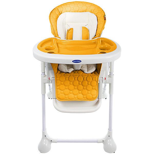 Стульчик для кормления Luxor Classic, Sweet Baby, ArancioneСтульчики для кормления<br>Характеристика товара:<br><br>• цвет: Arancione (желтый)<br>• используется в качестве стульчика для кормления или шезлонга для сна<br>• наклон спинки регулируется, устанавливается в горизонтальное положение<br>• регулируемая по высоте спинка (5 уровней)<br>• угол наклона спинки регулируется (3 положения)<br>• регулируемая длина подножки (3 уровня)<br>• чехол из экокожи<br>• вкладыш из мягкой гипоаллергенной ткани, который легко снимается<br>• сетчато-текстильная корзина для аксессуаров<br>• 5-точечные ремни безопасности с надежным замком и мягкими накладками<br>• 3 позиции глубины и высоты подноса<br>• съемная верхняя накладка на поднос и 2 углубления для посуды<br>• 4 колеса со стоперами<br>• компактные размеры и устойчивость в сложенном виде<br>• возраст: от 0 месяцев<br>• материал рамы: металл, пластик<br>• страна производства: Китай<br>• вес: 15 кг<br>• размер упаковки: 91х30х65 см<br><br>Стульчик для кормления Sweet Baby Luxor Classic с уникальной функцией –<br>ручным механизмом качания!<br><br>Инженеры добились невероятного симбиоза: компактный стульчик для кормления теперь может быть и кроваткой – Вы сможете заняться любым делом, параллельно убаюкивая своего малыша.<br><br>Стульчик легко перемещается, а это значит, что Вы сможете убаюкать крошку там, где Вам удобно.<br><br>Стульчик для кормления Luxor Classic, Sweet Baby, Arancione можно купить в нашем интернет-магазине.<br>Ширина мм: 640; Глубина мм: 910; Высота мм: 300; Вес г: 17400; Возраст от месяцев: 0; Возраст до месяцев: 36; Пол: Унисекс; Возраст: Детский; SKU: 5583543;