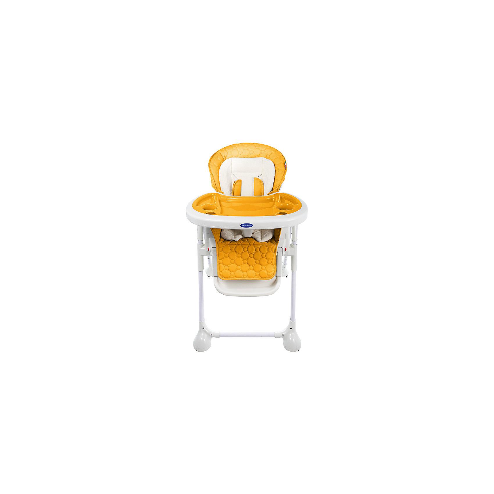 Стульчик для кормления Luxor Classic, Sweet Baby, Arancioneот рождения<br>Характеристика товара:<br><br>• цвет: Arancione (желтый)<br>• используется в качестве стульчика для кормления или шезлонга для сна<br>• наклон спинки регулируется, устанавливается в горизонтальное положение<br>• регулируемая по высоте спинка (5 уровней)<br>• угол наклона спинки регулируется (3 положения)<br>• регулируемая длина подножки (3 уровня)<br>• чехол из экокожи<br>• вкладыш из мягкой гипоаллергенной ткани, который легко снимается<br>• сетчато-текстильная корзина для аксессуаров<br>• 5-точечные ремни безопасности с надежным замком и мягкими накладками<br>• 3 позиции глубины и высоты подноса<br>• съемная верхняя накладка на поднос и 2 углубления для посуды<br>• 4 колеса со стоперами<br>• компактные размеры и устойчивость в сложенном виде<br>• возраст: от 0 месяцев<br>• материал рамы: металл, пластик<br>• страна производства: Китай<br>• вес: 15 кг<br>• размер упаковки: 91х30х65 см<br><br>Стульчик для кормления Sweet Baby Luxor Classic с уникальной функцией –<br>ручным механизмом качания!<br><br>Инженеры добились невероятного симбиоза: компактный стульчик для кормления теперь может быть и кроваткой – Вы сможете заняться любым делом, параллельно убаюкивая своего малыша.<br><br>Стульчик легко перемещается, а это значит, что Вы сможете убаюкать крошку там, где Вам удобно.<br><br>Стульчик для кормления Luxor Classic, Sweet Baby, Arancione можно купить в нашем интернет-магазине.<br><br>Ширина мм: 640<br>Глубина мм: 910<br>Высота мм: 300<br>Вес г: 17400<br>Возраст от месяцев: 0<br>Возраст до месяцев: 36<br>Пол: Унисекс<br>Возраст: Детский<br>SKU: 5583543