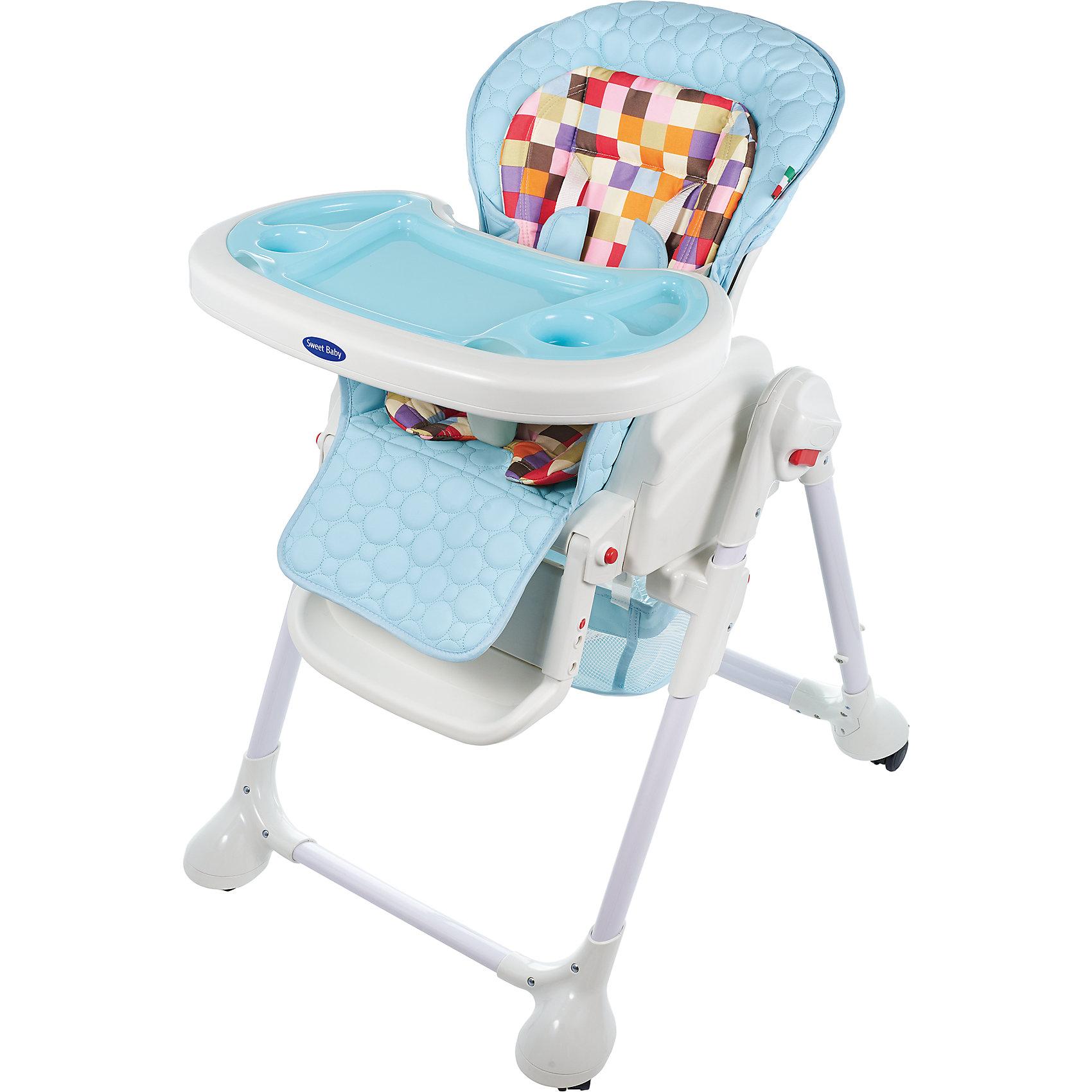 Стульчик для кормления Luxor Multicolor, Sweet Baby, Bluот рождения<br>Характеристика товара:<br><br>• цвет: Blu (голубой)<br>• используется в качестве стульчика для кормления или шезлонга для сна<br>• наклон спинки регулируется, устанавливается в горизонтальное положение<br>• регулируемая по высоте спинка (5 уровней)<br>• угол наклона спинки регулируется (3 положения)<br>• регулируемая длина подножки (3 уровня)<br>• чехол из экокожи<br>• яркий вкладыш из мягкой гипоаллергенной ткани (снимается)<br>• сетчато-текстильная корзина для аксессуаров<br>• 5-точечные ремни безопасности с надежным замком и мягкими накладками<br>• 3 позиции глубины и высоты подноса<br>• съемная верхняя накладка на поднос и 2 углубления для посуды<br>• 4 колеса со стоперами<br>• компактные размеры и устойчивость в сложенном виде<br>• возраст: от 0 месяцев<br>• материал рамы: металл, пластик<br>• страна производства: Китай<br>• вес: 15 кг<br>• размер упаковки: 91х30х65 см<br><br>Стульчик для кормления Luxor Multicolor Sweet Baby с уникальной функцией –<br>ручным механизмом качания!<br><br>Компактный стульчик для кормления теперь может быть и кроваткой – Вы сможете заняться любым делом, параллельно убаюкивая своего малыша.<br><br>Стульчик легко перемещается, а это значит, что Вы сможете убаюкать крошку там, где Вам удобно.<br><br>Стульчик для кормления Luxor Multicolor, Sweet Baby, Blu можно купить в нашем интернет-магазине.<br><br>Ширина мм: 640<br>Глубина мм: 910<br>Высота мм: 300<br>Вес г: 17400<br>Возраст от месяцев: 0<br>Возраст до месяцев: 36<br>Пол: Унисекс<br>Возраст: Детский<br>SKU: 5583545