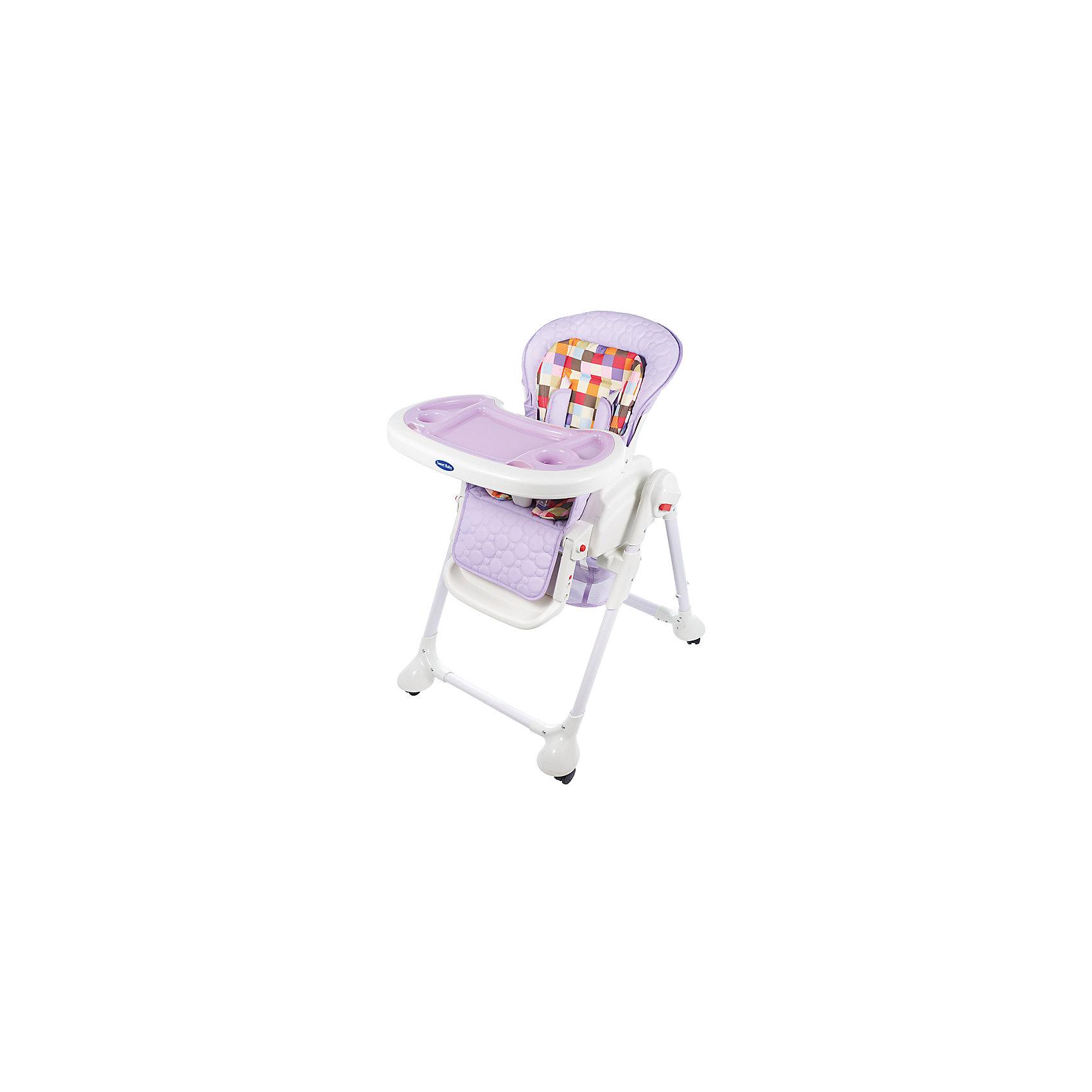 Стульчик для кормления Luxor Multicolor, Sweet Baby, Lillaот рождения<br>Характеристика товара:<br><br>• цвет: Lilla (фиолетовый)<br>• используется в качестве стульчика для кормления или шезлонга для сна<br>• наклон спинки регулируется, устанавливается в горизонтальное положение<br>• регулируемая по высоте спинка (5 уровней)<br>• угол наклона спинки регулируется (3 положения)<br>• регулируемая длина подножки (3 уровня)<br>• чехол из экокожи<br>• яркий вкладыш из мягкой гипоаллергенной ткани (снимается)<br>• сетчато-текстильная корзина для аксессуаров<br>• 5-точечные ремни безопасности с надежным замком и мягкими накладками<br>• 3 позиции глубины и высоты подноса<br>• съемная верхняя накладка на поднос и 2 углубления для посуды<br>• 4 колеса со стоперами<br>• компактные размеры и устойчивость в сложенном виде<br>• возраст: от 0 месяцев<br>• материал рамы: металл, пластик<br>• страна производства: Китай<br>• вес: 15 кг<br>• размер упаковки: 91х30х65 см<br><br>Стульчик для кормления Luxor Multicolor Sweet Baby с уникальной функцией –<br>ручным механизмом качания!<br><br>Компактный стульчик для кормления теперь может быть и кроваткой – Вы сможете заняться любым делом, параллельно убаюкивая своего малыша.<br><br>Стульчик легко перемещается, а это значит, что Вы сможете убаюкать крошку там, где Вам удобно.<br><br>Стульчик для кормления Luxor Multicolor, Sweet Baby, Lilla можно купить в нашем интернет-магазине.<br><br>Ширина мм: 640<br>Глубина мм: 910<br>Высота мм: 300<br>Вес г: 17400<br>Возраст от месяцев: 0<br>Возраст до месяцев: 36<br>Пол: Унисекс<br>Возраст: Детский<br>SKU: 5583547