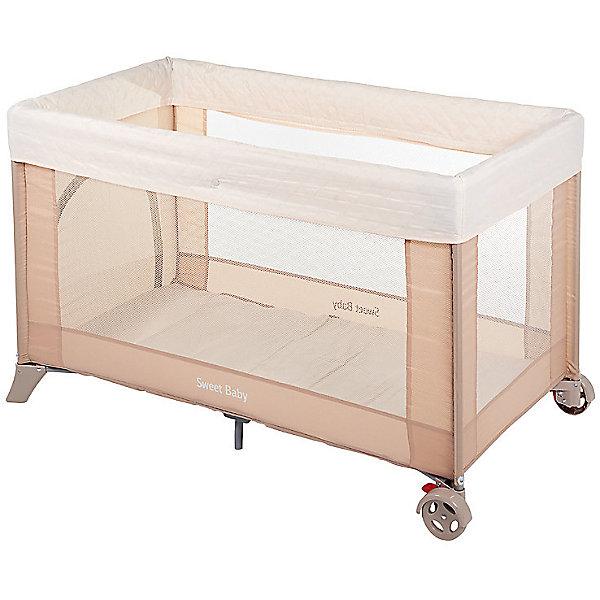 Манеж-кровать Mantellina, Sweet Baby, PescaДетские манежи<br>Характеристики товара:<br><br>• цвет:  бежевый<br>• материал: металл, пластик, текстиль<br>• съемный мягкий бортик<br>• прозрачные стенки<br>• боковой лаз<br>• колеса со стоперами<br>• защита от складывания<br>• в комплекте: антимоскитная сетка, сумка-чехол<br>• вес: 9 кг<br>• размер упаковки: 77х21х21 см.<br>• страна бренда: Италия<br><br>Одним из предметов детской мебели, который может решить сразу две задачи, является кровать-манеж Sweet Baby Mantellina. Это полноценное спальное место с жестким дном, а также надежно огражденная игровая зона. <br><br>Продольные стенки состоят из прозрачной сетки, благодаря которой малыш сможет прекрасно рассмотреть все вокруг даже сидя или лежа.<br><br>Когда малыш становится старше, для него важно самостоятельно забираться в игровую зону и выходить из нее. Поэтому на одной из стенок есть боковой лаз, который может служить дверью.<br><br>Конструкция очень устойчива — вы можете не бояться, что малыш раскачает ее или сдвинет с места. Колесики фиксируются и прочно держатся стоперами.<br><br>Манеж-кровать станет незаменимым помощником в путешествиях или просто выездах на природу.<br><br>Манеж-кровать Mantellina Pesca, Sweet Baby можно купить в нашем интернет-магазине.<br>Ширина мм: 210; Глубина мм: 765; Высота мм: 210; Вес г: 10000; Возраст от месяцев: 0; Возраст до месяцев: 36; Пол: Унисекс; Возраст: Детский; SKU: 5583548;