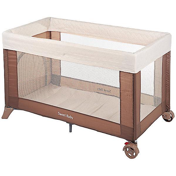 Манеж-кровать Mantellina, Sweet Baby, CacaoМанежи-кровати<br>Характеристики товара:<br><br>• цвет:  коричневый<br>• материал: металл, пластик, текстиль<br>• съемный мягкий бортик<br>• прозрачные стенки<br>• боковой лаз<br>• колеса со стоперами<br>• защита от складывания<br>• в комплекте: антимоскитная сетка, сумка-чехол<br>• вес: 9 кг<br>• размер упаковки: 77х21х21 см.<br>• страна бренда: Италия<br><br>Одним из предметов детской мебели, который может решить сразу две задачи, является кровать-манеж Sweet Baby Mantellina. Это полноценное спальное место с жестким дном, а также надежно огражденная игровая зона. <br><br>Продольные стенки состоят из прозрачной сетки, благодаря которой малыш сможет прекрасно рассмотреть все вокруг даже сидя или лежа.<br><br>Когда малыш становится старше, для него важно самостоятельно забираться в игровую зону и выходить из нее. Поэтому на одной из стенок есть боковой лаз, который может служить дверью.<br><br>Конструкция очень устойчива — вы можете не бояться, что малыш раскачает ее или сдвинет с места. Колесики фиксируются и прочно держатся стоперами.<br><br>Манеж-кровать станет незаменимым помощником в путешествиях или просто выездах на природу.<br><br>Манеж-кровать Mantellina Cacao, Sweet Baby можно купить в нашем интернет-магазине.<br><br>Ширина мм: 210<br>Глубина мм: 765<br>Высота мм: 210<br>Вес г: 10000<br>Возраст от месяцев: 0<br>Возраст до месяцев: 36<br>Пол: Унисекс<br>Возраст: Детский<br>SKU: 5583549