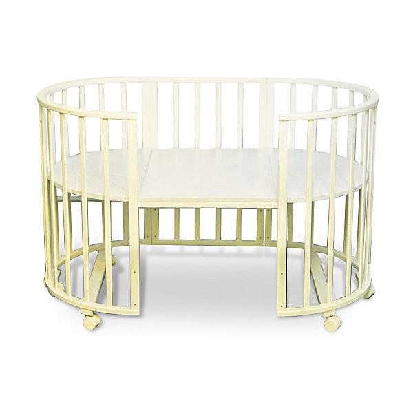 Кроватка-трансформер Sweet Baby Delizia Avorio без маятника, слоновая костьКруглые кроватки<br>Характеристики товара:<br><br>• цвет: слоновая кость<br>• материал: дерево (береза)<br>• тип: трансформер 6 в 1<br>• съёмные колеса<br>• размер спального места: 120х60 см<br>• 2 уровня ложа<br>• размер (ШхДхВ): 75х125х85 см<br><br>Кроватка-трансформер Delizia будет расти сместе с малышом. Кроватка не имеет острых углов.<br><br>Два уровня ложа позволяют менять глубину кроватки по мере роста малыша, опускаемая планка поможет без труда дотянуться до малыша в кроватке.<br><br>Расстояние между рейками не дает возможность ребенку застрять между ними во время сна.<br><br>Кроватки для новорожденных SweetBaby обрабатываются нетоксичными лаками и красками, абсолютно безвредными для ребенка.<br><br>Варианты сборки:<br>• Круглая люлька (спальное место: диаметр 75см)<br>• Высота от пола до верхнего края - 85 см<br>• Овальная детская кровать (спальное место: 125х75см)<br>• Овальный диван.<br>• Манеж круглый или овальный.<br>• Стул и столик.<br><br>Кроватку-трансформер Delizia Avorio, Sweet Baby можно купить в нашем интернет-магазине.<br>Ширина мм: 600; Глубина мм: 350; Высота мм: 800; Вес г: 23100; Возраст от месяцев: 0; Возраст до месяцев: 36; Пол: Унисекс; Возраст: Детский; SKU: 5583553;