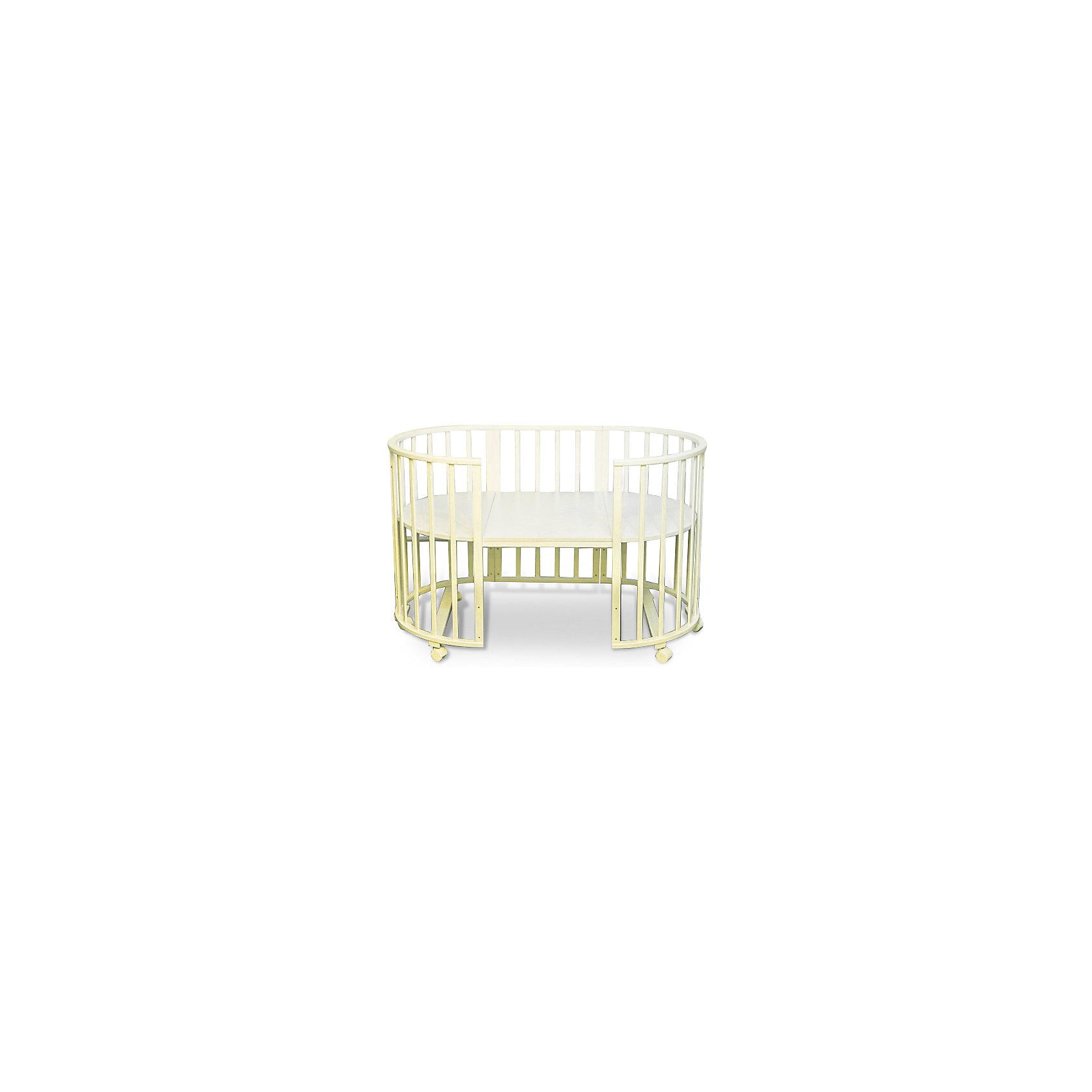 Кроватка-трансформер Sweet Baby Delizia Avorio без маятника, слоновая костьКроватки<br>Характеристики товара:<br><br>• цвет: слоновая кость<br>• материал: дерево (береза)<br>• тип: трансформер 6 в 1<br>• съёмные колеса<br>• размер спального места: 120х60 см<br>• 2 уровня ложа<br>• размер (ШхДхВ): 75х125х85 см<br><br>Кроватка-трансформер Delizia будет расти сместе с малышом. Кроватка не имеет острых углов.<br><br>Два уровня ложа позволяют менять глубину кроватки по мере роста малыша, опускаемая планка поможет без труда дотянуться до малыша в кроватке.<br><br>Расстояние между рейками не дает возможность ребенку застрять между ними во время сна.<br><br>Кроватки для новорожденных SweetBaby обрабатываются нетоксичными лаками и красками, абсолютно безвредными для ребенка.<br><br>Варианты сборки:<br>• Круглая люлька (спальное место: диаметр 75см)<br>• Высота от пола до верхнего края - 85 см<br>• Овальная детская кровать (спальное место: 125х75см)<br>• Овальный диван.<br>• Манеж круглый или овальный.<br>• Стул и столик.<br><br>Кроватку-трансформер Delizia Avorio, Sweet Baby можно купить в нашем интернет-магазине.<br><br>Ширина мм: 600<br>Глубина мм: 350<br>Высота мм: 800<br>Вес г: 23100<br>Возраст от месяцев: 0<br>Возраст до месяцев: 36<br>Пол: Унисекс<br>Возраст: Детский<br>SKU: 5583553
