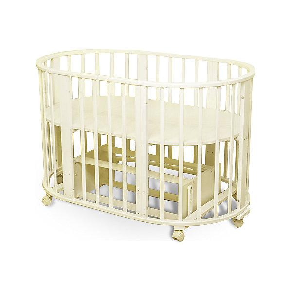 Кроватка-трансформер Sweet Baby Delizia Avorio с маятником, слоновая костьДетские кроватки<br>Характеристики товара:<br><br>• цвет:  слоновая кость<br>• материал: дерево (береза)<br>• тип: трансформер 6 в 1<br>• съёмные колеса<br>• маятниковый механизм: поперечный<br>• размер спального места: 120х60 см<br>• 2 уровня ложа<br>• размер (ШхДхВ): 75х125х85 см<br><br>Кроватка-трансформер Delizia будет расти сместе с малышом. Кроватка не имеет острых углов.<br><br>Итальянский бренд Sweet Baby позаботился о комфортном сне вашего малыша благодаря плавному механизму качания поперечного маятника . <br>Кроватка оснащена специальными фиксаторами, которые приводят маятник в состояние покоя.<br><br>Два уровня ложа позволяют менять глубину кроватки по мере роста малыша, опускаемая планка поможет без труда дотянуться до малыша в кроватке.<br><br>Расстояние между рейками не дает возможность ребенку застрять между ними во время сна.<br><br>Кроватки для новорожденных SweetBaby обрабатываются нетоксичными лаками и красками, абсолютно безвредными для ребенка.<br><br>Варианты сборки:<br>• Круглая люлька (спальное место: диаметр 75см)<br>• Высота от пола до верхнего края - 85 см<br>• Овальная детская кровать (спальное место: 125х75см)<br>• Овальный диван.<br>• Манеж круглый или овальный.<br>• Стул и столик.<br><br>Кроватку-трансформер Delizia Avorio с маятником, Sweet Baby можно купить в нашем интернет-магазине.<br>Ширина мм: 600; Глубина мм: 350; Высота мм: 800; Вес г: 28700; Цвет: бежевый; Возраст от месяцев: 0; Возраст до месяцев: 36; Пол: Унисекс; Возраст: Детский; SKU: 5583554;