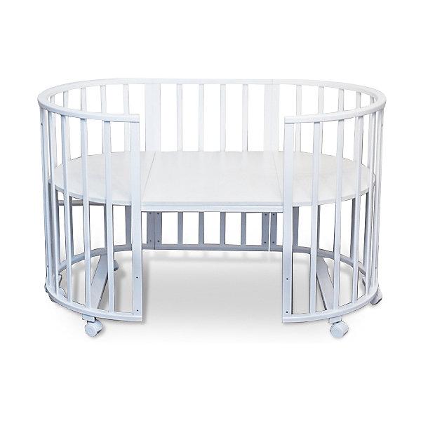 Кроватка-трансформер Sweet Baby Delizia Bianco без маятника, белыйКруглые кроватки<br>Характеристики товара:<br><br>• цвет: белый<br>• материал: дерево (береза)<br>• тип: трансформер 6 в 1<br>• съёмные колеса<br>• размер спального места: 120х60 см<br>• 2 уровня ложа<br>• размер (ШхДхВ): 75х125х85 см<br><br>Кроватка-трансформер Delizia будет расти сместе с малышом. Кроватка не имеет острых углов.<br><br>Два уровня ложа позволяют менять глубину кроватки по мере роста малыша, опускаемая планка поможет без труда дотянуться до малыша в кроватке.<br><br>Расстояние между рейками не дает возможность ребенку застрять между ними во время сна.<br><br>Кроватки для новорожденных SweetBaby обрабатываются нетоксичными лаками и красками, абсолютно безвредными для ребенка.<br><br>Варианты сборки:<br>• Круглая люлька (спальное место: диаметр 75см)<br>• Высота от пола до верхнего края - 85 см<br>• Овальная детская кровать (спальное место: 125х75см)<br>• Овальный диван.<br>• Манеж круглый или овальный.<br>• Стул и столик.<br><br>Кроватку-трансформер Delizia Bianco, Sweet Baby можно купить в нашем интернет-магазине.<br><br>Ширина мм: 600<br>Глубина мм: 350<br>Высота мм: 800<br>Вес г: 23100<br>Возраст от месяцев: 0<br>Возраст до месяцев: 36<br>Пол: Унисекс<br>Возраст: Детский<br>SKU: 5583555