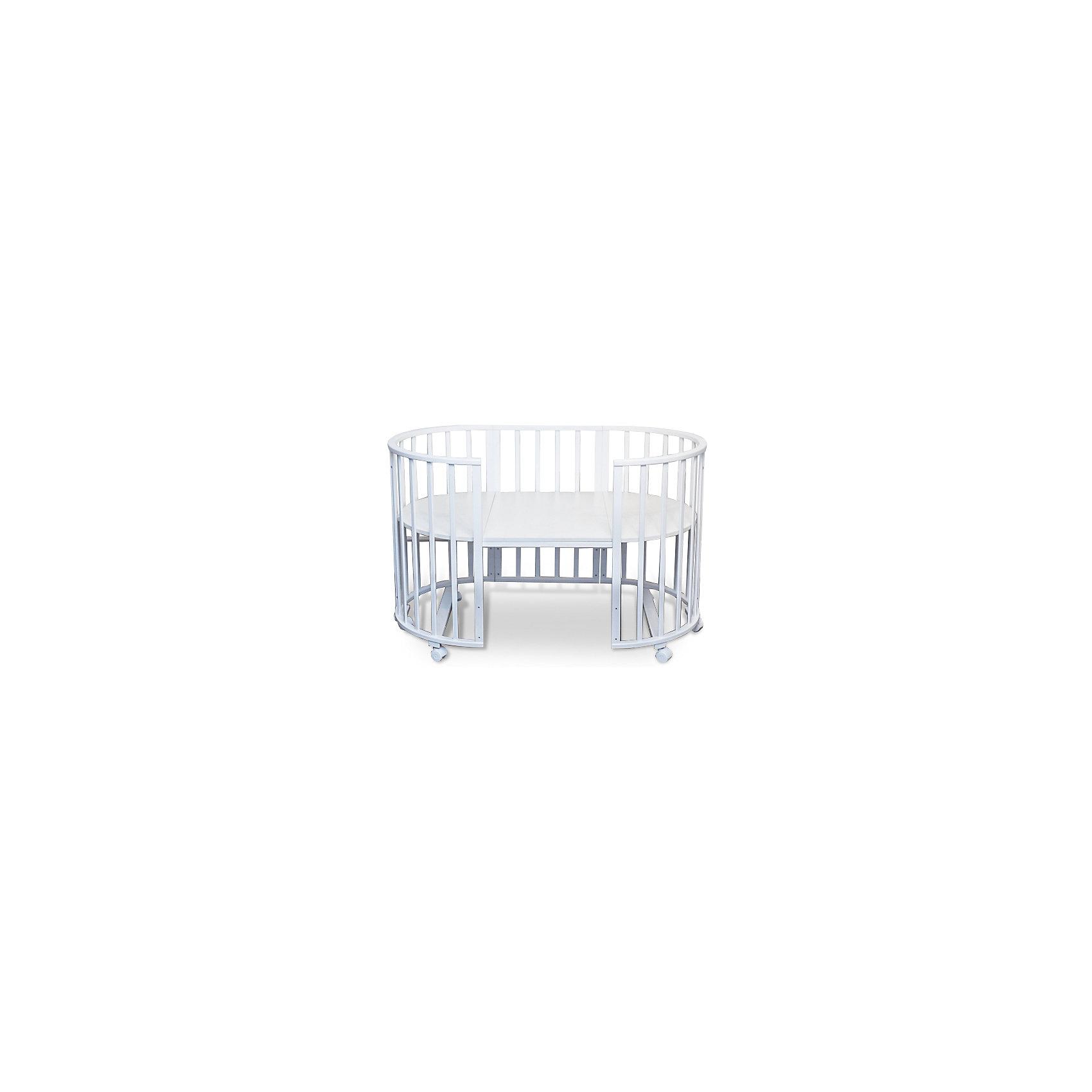 Кроватка-трансформер Delizia Bianco без маятника, Sweet Baby, белыйКроватки<br>Характеристики товара:<br><br>• цвет: белый<br>• материал: дерево (береза)<br>• тип: трансформер 6 в 1<br>• съёмные колеса<br>• размер спального места: 120х60 см<br>• 2 уровня ложа<br>• размер (ШхДхВ): 75х125х85 см<br><br>Кроватка-трансформер Delizia будет расти сместе с малышом. Кроватка не имеет острых углов.<br><br>Два уровня ложа позволяют менять глубину кроватки по мере роста малыша, опускаемая планка поможет без труда дотянуться до малыша в кроватке.<br><br>Расстояние между рейками не дает возможность ребенку застрять между ними во время сна.<br><br>Кроватки для новорожденных SweetBaby обрабатываются нетоксичными лаками и красками, абсолютно безвредными для ребенка.<br><br>Варианты сборки:<br>• Круглая люлька (спальное место: диаметр 75см)<br>• Высота от пола до верхнего края - 85 см<br>• Овальная детская кровать (спальное место: 125х75см)<br>• Овальный диван.<br>• Манеж круглый или овальный.<br>• Стул и столик.<br><br>Кроватку-трансформер Delizia Bianco, Sweet Baby можно купить в нашем интернет-магазине.<br><br>Ширина мм: 600<br>Глубина мм: 350<br>Высота мм: 800<br>Вес г: 23100<br>Возраст от месяцев: 0<br>Возраст до месяцев: 36<br>Пол: Унисекс<br>Возраст: Детский<br>SKU: 5583555