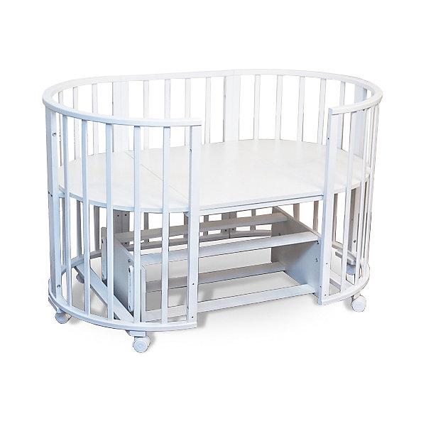 Кроватка-трансформер Sweet Baby Delizia Bianco с маятником, белыйДетские кроватки<br>Характеристики товара:<br><br>• цвет:  белый<br>• материал: дерево (береза)<br>• тип: трансформер 6 в 1<br>• съёмные колеса<br>• маятниковый механизм: поперечный<br>• размер спального места: 120х60 см<br>• 2 уровня ложа<br>• размер (ШхДхВ): 75х125х85 см<br><br>Кроватка-трансформер Delizia будет расти вместе с малышом. Кроватка не имеет острых углов.<br><br>Итальянский бренд Sweet Baby позаботился о комфортном сне вашего малыша благодаря плавному механизму качания поперечного маятника . <br>Кроватка оснащена специальными фиксаторами, которые приводят маятник в состояние покоя.<br><br>Два уровня ложа позволяют менять глубину кроватки по мере роста малыша, опускаемая планка поможет без труда дотянуться до малыша в кроватке.<br><br>Продуманное расстояние между рейками гарантируют ребенка от  застревание ножкой между рейками во время сна.<br><br>Кроватки для новорожденных SweetBaby обрабатываются нетоксичными лаками и красками, абсолютно безвредными для ребенка.<br><br>Варианты сборки:<br>• Круглая люлька (спальное место: диаметр 75см)<br>• Высота от пола до верхнего края - 85 см<br>• Овальная детская кровать (спальное место: 125х75см)<br>• Овальный диван.<br>• Манеж круглый или овальный.<br>• Стул и столик.<br><br>Кроватку-трансформер Delizia  Bianco с маятником, Sweet Baby можно купить в нашем интернет-магазине.<br><br>Ширина мм: 600<br>Глубина мм: 350<br>Высота мм: 800<br>Вес г: 28700<br>Возраст от месяцев: 0<br>Возраст до месяцев: 36<br>Пол: Унисекс<br>Возраст: Детский<br>SKU: 5583556