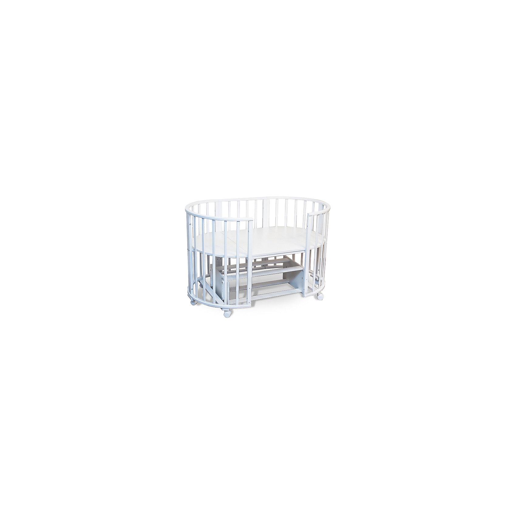 Кроватка-трансформер Delizia Bianco с маятником, Sweet Baby, белыйКроватки<br>Характеристики товара:<br><br>• цвет:  белый<br>• материал: дерево<br>• тип: трансформер 6 в 1<br>• съёмные колеса<br>• маятниковый механизм: поперечный<br>• размер спального места: 120х60 см<br>• 2 уровня ложа<br>• размер (ШхДхВ): 75х125х85 см<br><br>Кроватка-трансформер Delizia будет расти сместе с малышом. Кроватка не имеет острых углов.<br><br>Итальянский бренд Sweet Baby позаботился о комфортном сне вашего малыша благодаря плавному механизму качания поперечного маятника . <br>Кроватка оснащена специальными фиксаторами, которые приводят маятник в состояние покоя.<br><br>Два уровня ложа позволяют менять глубину кроватки по мере роста малыша, опускаемая планка поможет без труда дотянуться до малыша в кроватке.<br><br>Расстояние между рейками не дает возможность ребенку застрять между ними во время сна.<br><br>Кроватки для новорожденных SweetBaby обрабатываются нетоксичными лаками и красками, абсолютно безвредными для ребенка.<br><br>Варианты сборки:<br>• Круглая люлька (спальное место: диаметр 75см)<br>• Высота от пола до верхнего края - 85 см<br>• Овальная детская кровать (спальное место: 125х75см)<br>• Овальный диван.<br>• Манеж круглый или овальный.<br>• Стул и столик.<br><br>Кроватку-трансформер Delizia  Bianco с маятником, Sweet Baby можно купить в нашем интернет-магазине.<br><br>Ширина мм: 600<br>Глубина мм: 350<br>Высота мм: 800<br>Вес г: 28700<br>Возраст от месяцев: 0<br>Возраст до месяцев: 36<br>Пол: Унисекс<br>Возраст: Детский<br>SKU: 5583556
