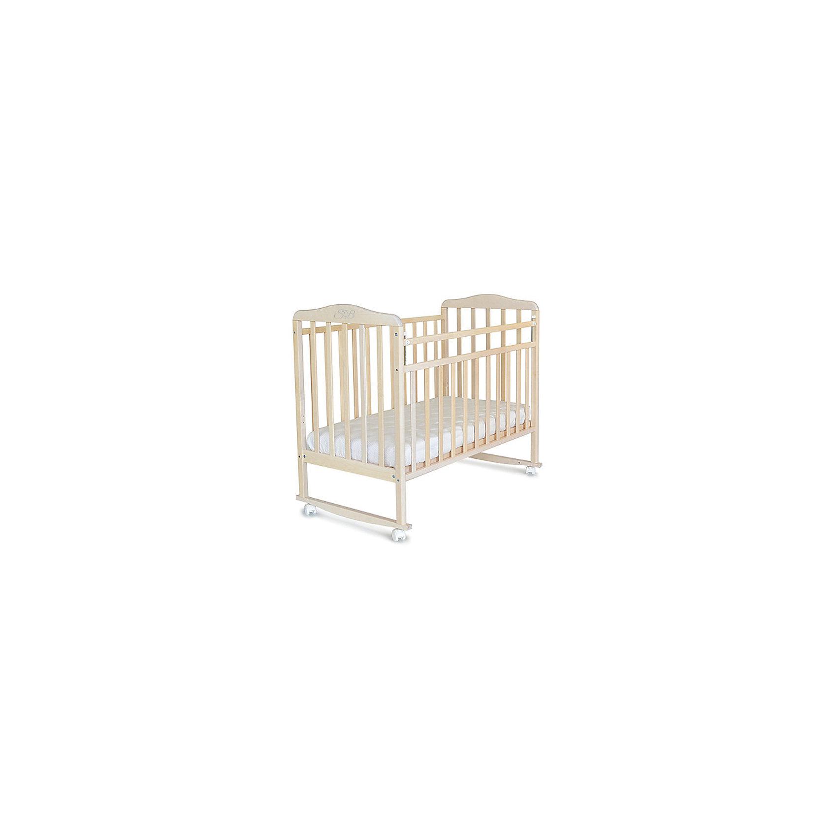 Кроватка Mario Nuvola Bianca, Sweet Baby, белое облакоКроватки<br>Характеристики товара:<br><br>• цвет: белое облако<br>• материал: дерево<br>• полозья для качания<br>• колесики<br>• размер спального места: 120х60 см<br>• 2 уровня ложа<br>• размер (ШхДхВ): 72х125х109 см<br><br>Кроватку Sweet Baby Mario с комплектацией колёсо/качалка можно использовать в одном из 2-х вариантов – на качалке или прикрутить колёсики.<br><br>Округлые формы деталей не позволят Вашему малышу удариться, а передняя стенка особенно надежна и долговечна благодаря тому, что подвижна только верхняя планка.<br><br>Два уровня ложа позволяют менять глубину кроватки по мере роста малыша, опускаемая планка поможет без труда дотянуться до малыша в кроватке.<br><br>Расстояние между рейками не дает возможность ребенку застрять между ними во время сна.<br><br>Детская кровать Sweet Baby Mario изготовлена из древесины березы, прочного и долговечного материала. <br><br>Кроватки для новорожденных SweetBaby обрабатываются нетоксичными лаками и красками, абсолютно безвредными для ребенка.<br><br>Кроватку Mario Nuvola Bianca, Sweet Baby можно купить в нашем интернет-магазине.<br><br>Ширина мм: 720<br>Глубина мм: 150<br>Высота мм: 1240<br>Вес г: 18000<br>Возраст от месяцев: 0<br>Возраст до месяцев: 36<br>Пол: Унисекс<br>Возраст: Детский<br>SKU: 5583559