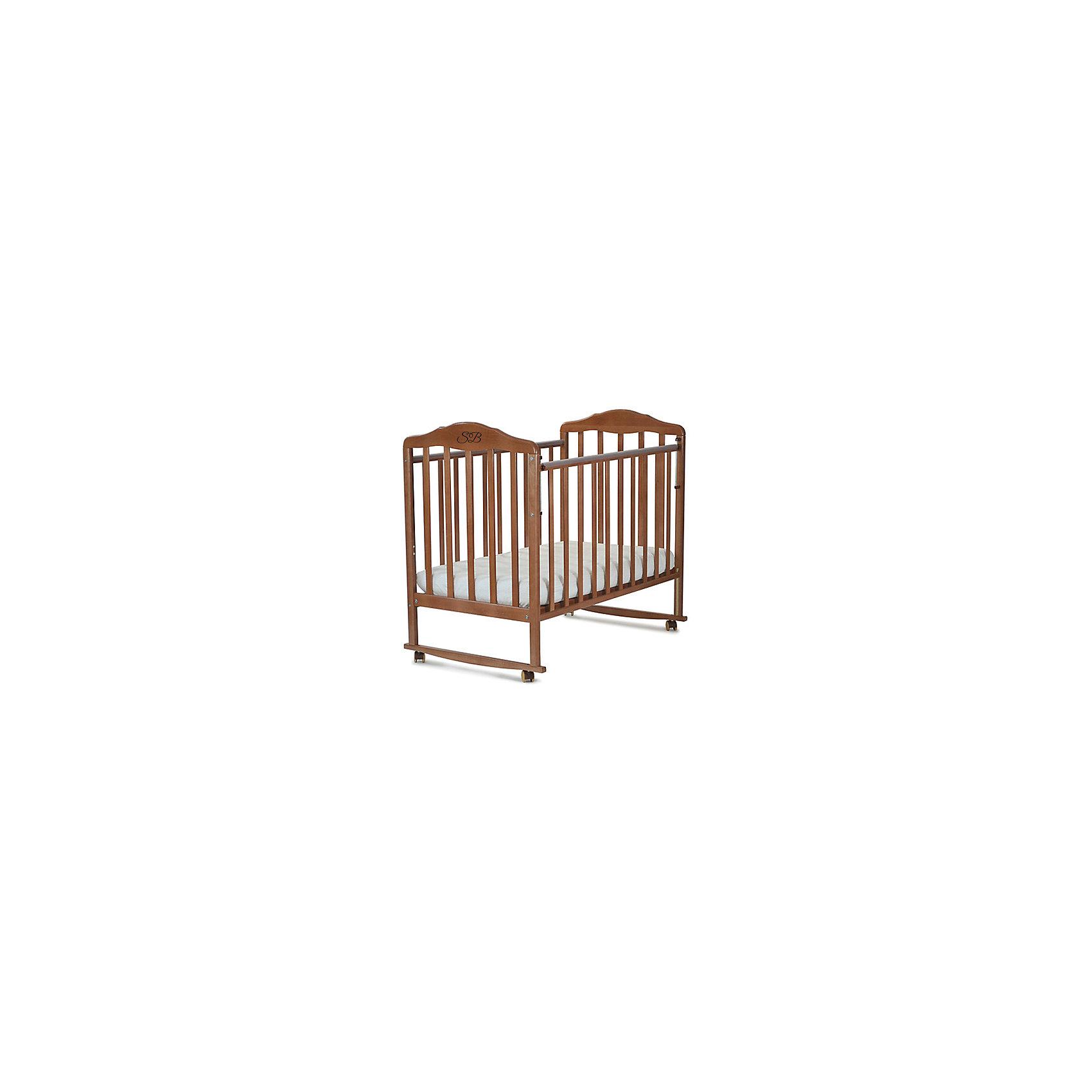 Кроватка Lorenzo Noce, Sweet Baby, орехКроватки<br>Характеристики товара:<br><br>• цвет: орех<br>• колесики<br>• материал: дерево<br>• силиконовые накладки на бортики<br>• полозья для качания<br>• размер спального места: 120х60 см<br>• 2 уровня ложа<br><br>Кроватку Sweet Baby Lorenzo с комплектацией колёсо/качалка можно использовать в одном из 2-х вариантов – на качалке или прикрутить колёсики.<br><br>Округлые формы деталей не позволят Вашему малышу удариться, а передняя стенка особенно надежна и долговечна благодаря тому, что подвижна только верхняя планка.<br><br>Два уровня ложа позволяют менять глубину кроватки по мере роста малыша, опускаемая планка поможет без труда дотянуться до малыша в кроватке.<br><br>Расстояние между рейками не дает возможность ребенку застрять между ними во время сна.<br><br>Детская кровать Sweet Baby Lorenzo изготовлена из древесины березы, прочного и долговечного материала. <br><br>Кроватки для новорожденных SweetBaby обрабатываются нетоксичными лаками и красками, абсолютно безвредными для ребенка.<br><br>Кроватку Lorenzo Noce, Sweet Baby можно купить в нашем интернет-магазине.<br><br>Ширина мм: 710<br>Глубина мм: 150<br>Высота мм: 1240<br>Вес г: 19000<br>Возраст от месяцев: 0<br>Возраст до месяцев: 36<br>Пол: Унисекс<br>Возраст: Детский<br>SKU: 5583570