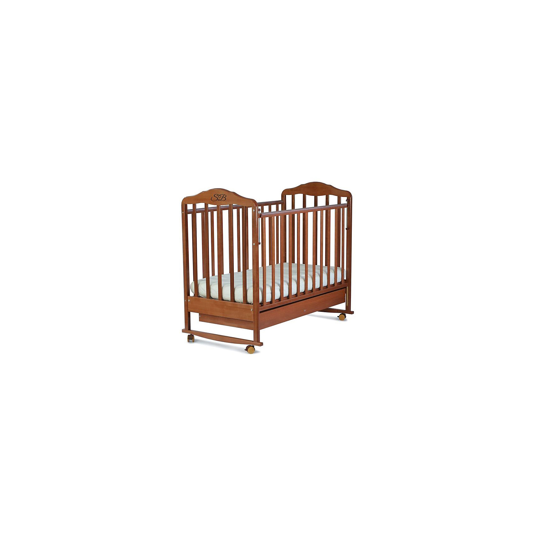 Кроватка Paolo Noce, Sweet Baby, орех<br><br>Ширина мм: 710<br>Глубина мм: 150<br>Высота мм: 1240<br>Вес г: 20000<br>Возраст от месяцев: 0<br>Возраст до месяцев: 36<br>Пол: Унисекс<br>Возраст: Детский<br>SKU: 5583574