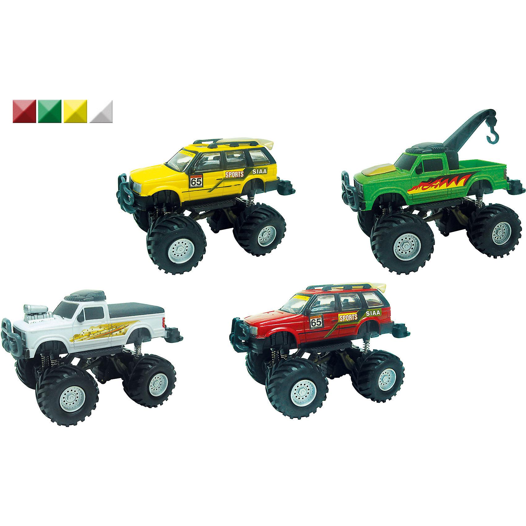Металлическая машинка Monster Truck, 1:32, AutotimeМашинки<br>Металлическая машинка Monster Truck, 1:32, Autotime (Автотайм).<br><br>Характеристики:<br><br>• Масштаб 1:32<br>• Материал: металл, пластик<br>• Упаковка: картонная коробка блистерного типа<br>• ВНИМАНИЕ! Данный артикул представлен в различном цветовом исполнении. К сожалению, заранее выбрать определенный вариант невозможно. При заказе нескольких машинок возможно получение одинаковых<br><br>На дороге трудно найти машину, которая рискнет подрезать большой джип с яркой расцветкой и крутым принтом. Высокая подвеска возвышает Monster Truck над другими игрушечными автомобилями. Машинка обладает крупными колесами с протектором, которым не страшны любые неровности, встречающиеся на пути. Корпус машинки металлический с пластиковыми элементами. Этот внедорожник будет замечательным подарком, который обрадует любого мальчика.<br><br>Металлическую машинку Monster Truck, 1:32, Autotime (Автотайм) можно купить в нашем интернет-магазине.<br><br>Ширина мм: 350<br>Глубина мм: 120<br>Высота мм: 158<br>Вес г: 288<br>Возраст от месяцев: 36<br>Возраст до месяцев: 2147483647<br>Пол: Мужской<br>Возраст: Детский<br>SKU: 5583852