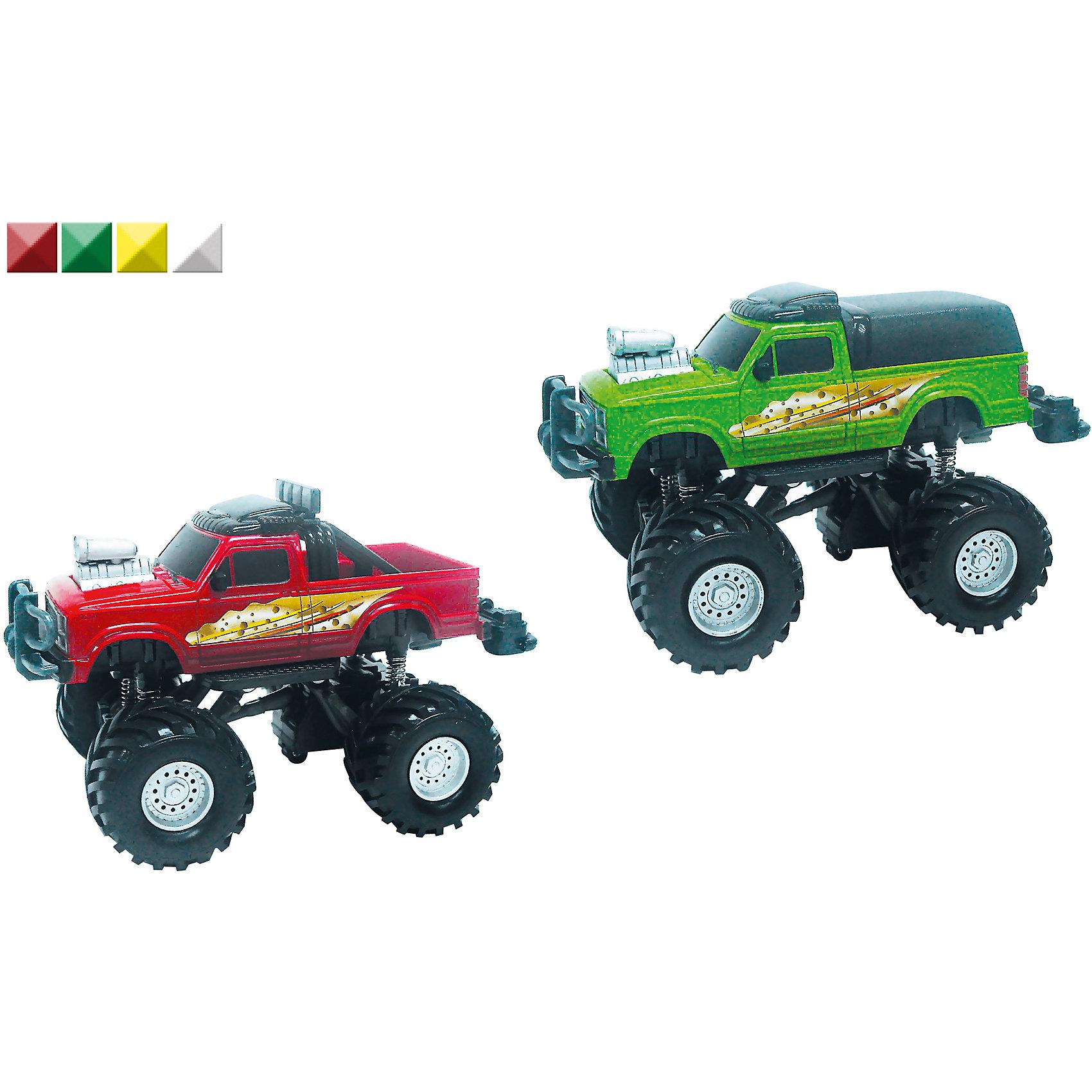 Машина Monster Truck, 1:32, со звуком, AutotimeМашинки<br>Машина Monster Truck, 1:32, со звуком, Autotime (Автотайм).<br><br>Характеристики:<br><br>• Масштаб 1:32<br>• Материал: металл, пластик<br>• Батарейки: 2xAG13 1.5V (входят в комплект)<br>• Упаковка: картонная коробка блистерного типа<br>• Размер упаковки: 17,5х9.5х11,5 см.<br>• ВНИМАНИЕ! Данный артикул представлен в различном цветовом исполнении. К сожалению, заранее выбрать определенный вариант невозможно. При заказе нескольких машинок возможно получение одинаковых<br><br>На дороге трудно найти машину, которая рискнет подрезать большой джип с яркой расцветкой и крутым принтом. Высокая подвеска возвышает Monster Truck над другими игрушечными автомобилями. Машинка обладает крупными колесами с протектором, которым не страшны любые неровности, встречающиеся на пути. Корпус машинки металлический с пластиковыми элементами. Машинка имеет инерционный механизм и звуковые эффекты. При нажатии на кнопку, расположенную на заднем бампере игрушки, раздаются звуки, имитирующие езду настоящей машины. Этот внедорожник будет замечательным подарком, который обрадует любого мальчика.<br><br>Машину Monster Truck, 1:32, со звуком, Autotime (Автотайм) можно купить в нашем интернет-магазине.<br><br>Ширина мм: 350<br>Глубина мм: 120<br>Высота мм: 158<br>Вес г: 288<br>Возраст от месяцев: 36<br>Возраст до месяцев: 2147483647<br>Пол: Мужской<br>Возраст: Детский<br>SKU: 5583853