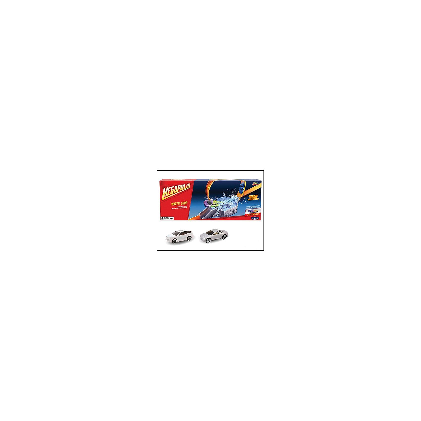Металлическая машинка Color Twisters Water Splash-2 с треком, AutotimeМашинки<br>Металлическая машинка Color Twisters Water Splash-2 с треком, Autotime (Автотайм).<br><br>Характеристики:<br><br>• В наборе: 2 металлические машины, элементы для сборки трека с трамплином<br>• Материал: металл, прочный пластик<br>• Упаковка: картонная коробка<br>• Размер упаковки: 45,5х7х18 см.<br><br>Игровой набор Color Twisters Water Splash-2 с треком от Autotime (Автотайм)- мечта любого мальчишки! В него входят элементы для сборки трека-горки с трамплином и две металлические машинки белого и серебристого цвета, которые меняют свой цвет от соприкосновения с водой. Трек устанавливается таким образом, что машины съезжают сверху вниз, разгоняются, приобретая достаточную скорость, чтобы пройти через трамплин. После прохождения трамплина машины попадают в отсек с холодной водой и выезжают оттуда, с изменившимся цветом корпуса. Чем холоднее вода, тем интенсивней окрашивание. Изначальный цвет постепенно возвращается при комнатной температуре. Если же ребенок хочет, чтобы цвет вернулся немедленно, достаточно положить машину в горячую воду. При попадании небольшого количества воды на машину, она может поменять цвет частично. Ваш ребенок будет в восторге от такого подарка и проведет много увлекательных часов, играя с этим набором!<br><br>Металлическую машинку Color Twisters Water Splash-2 с треком, Autotime (Автотайм) можно купить в нашем интернет-магазине.<br><br>Ширина мм: 350<br>Глубина мм: 120<br>Высота мм: 158<br>Вес г: 500<br>Возраст от месяцев: 36<br>Возраст до месяцев: 2147483647<br>Пол: Мужской<br>Возраст: Детский<br>SKU: 5583855