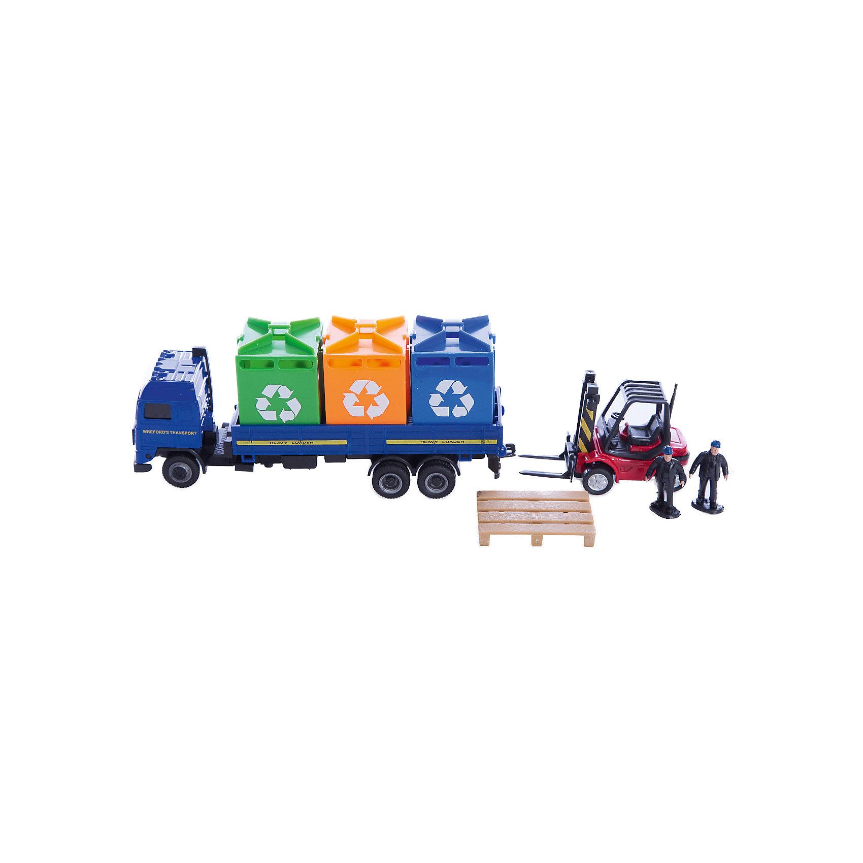 Набор Уборочная служба Cleaning service, AutotimeМашинки<br>Набор Уборочная служба Cleaning service, Autotime (Автотайм).<br><br>Характеристики:<br><br>• В наборе: грузовик, автокар, 2 фигурки рабочих, платформа, 3 мусорных контейнера<br>• Материал: прочный пластик<br>• Упаковка: картонная коробка блистерного типа<br>• Размер упаковки: 24x6x16 см.<br><br>Этот игровой набор познакомит ребенка с техникой и приспособлениями, которые помогают содержать город в чистоте. В набор входят: автомобиль-мусоровоз, автокар с платформой, три контейнера для мусора и две фигурки рабочих. Колеса автомобиля и автокара вращаются.<br><br>Набор Уборочная служба Cleaning service, Autotime (Автотайм) можно купить в нашем интернет-магазине.<br><br>Ширина мм: 350<br>Глубина мм: 120<br>Высота мм: 158<br>Вес г: 800<br>Возраст от месяцев: 36<br>Возраст до месяцев: 2147483647<br>Пол: Мужской<br>Возраст: Детский<br>SKU: 5583858