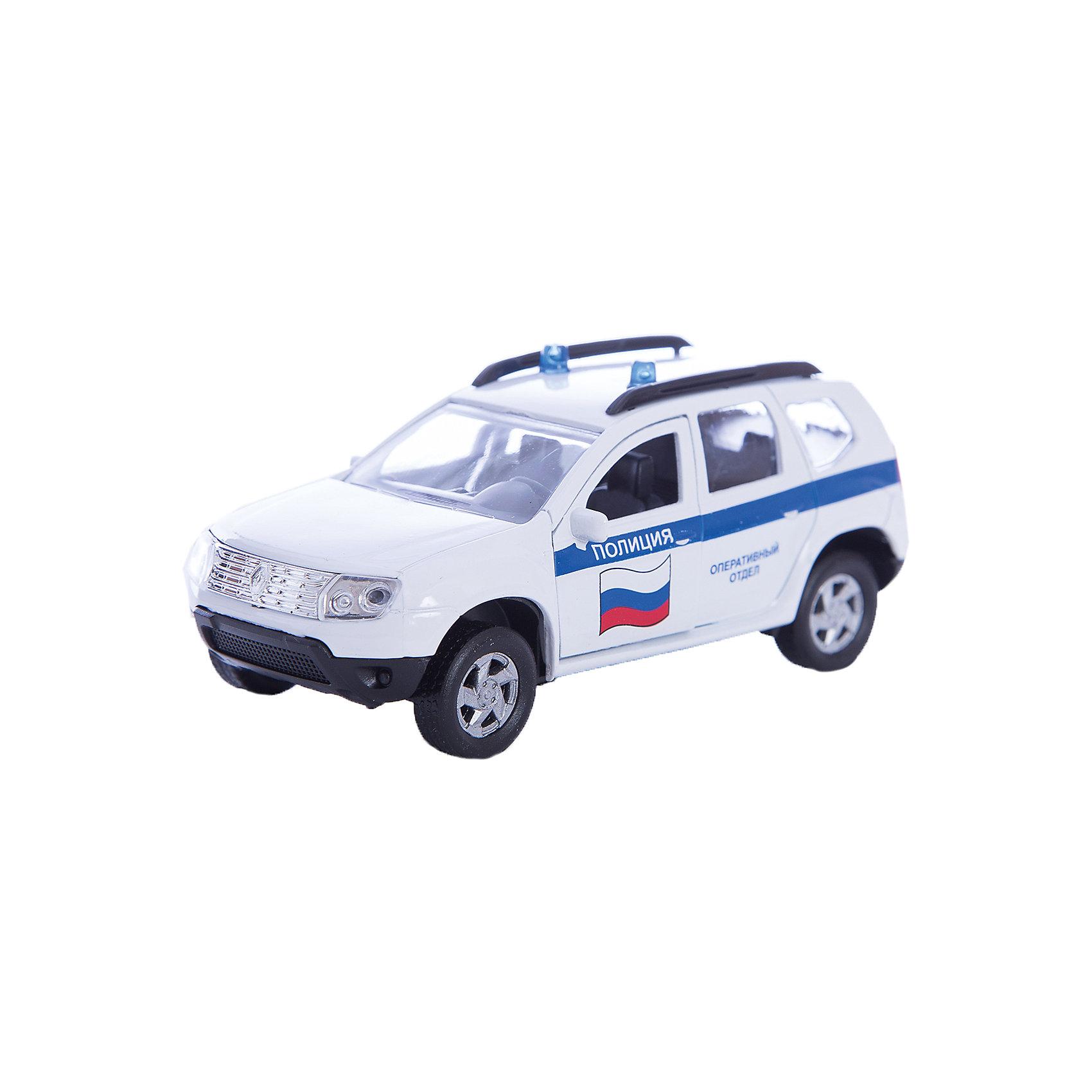 Машинка Renault Duster полиция 1:38, AutotimeМашинки<br>Машинка Renault Duster полиция 1:38, Autotime (Автотайм).<br><br>Характеристики:<br><br>• Масштаб 1:38<br>• Длина машинки: 11 см.<br>• Материал: металл, пластик<br>• Цвет: белый<br>• Упаковка: картонная коробка блистерного типа<br>• Размер упаковки: 16,5x5,7x7,2 см.<br><br>Машинка Renault Duster полиция от Autotime (Автотайм) является уменьшенной копией полицейского автомобиля. Renault Duster - компактный кроссовер. Название можно перевести как Пыльник, т.е. это внедорожник — автомобиль для пыльных дорог. Модель имеет высокую степень детализации. Корпус машинки изготовлен из металла, а все дополнительные элементы из пластика. Автомобиль очень реалистично раскрашен. Передние двери открываются, что позволяет рассмотреть салон изнутри в деталях. Машинка оснащена инерционным механизмом. Полицейская машинка Renault Duster станет хорошим подарком и ребенку, и коллекционеру моделей автомобилей.<br><br>Машинку Renault Duster полиция 1:38, Autotime (Автотайм) можно купить в нашем интернет-магазине.<br><br>Ширина мм: 165<br>Глубина мм: 57<br>Высота мм: 75<br>Вес г: 23<br>Возраст от месяцев: 36<br>Возраст до месяцев: 2147483647<br>Пол: Мужской<br>Возраст: Детский<br>SKU: 5583859