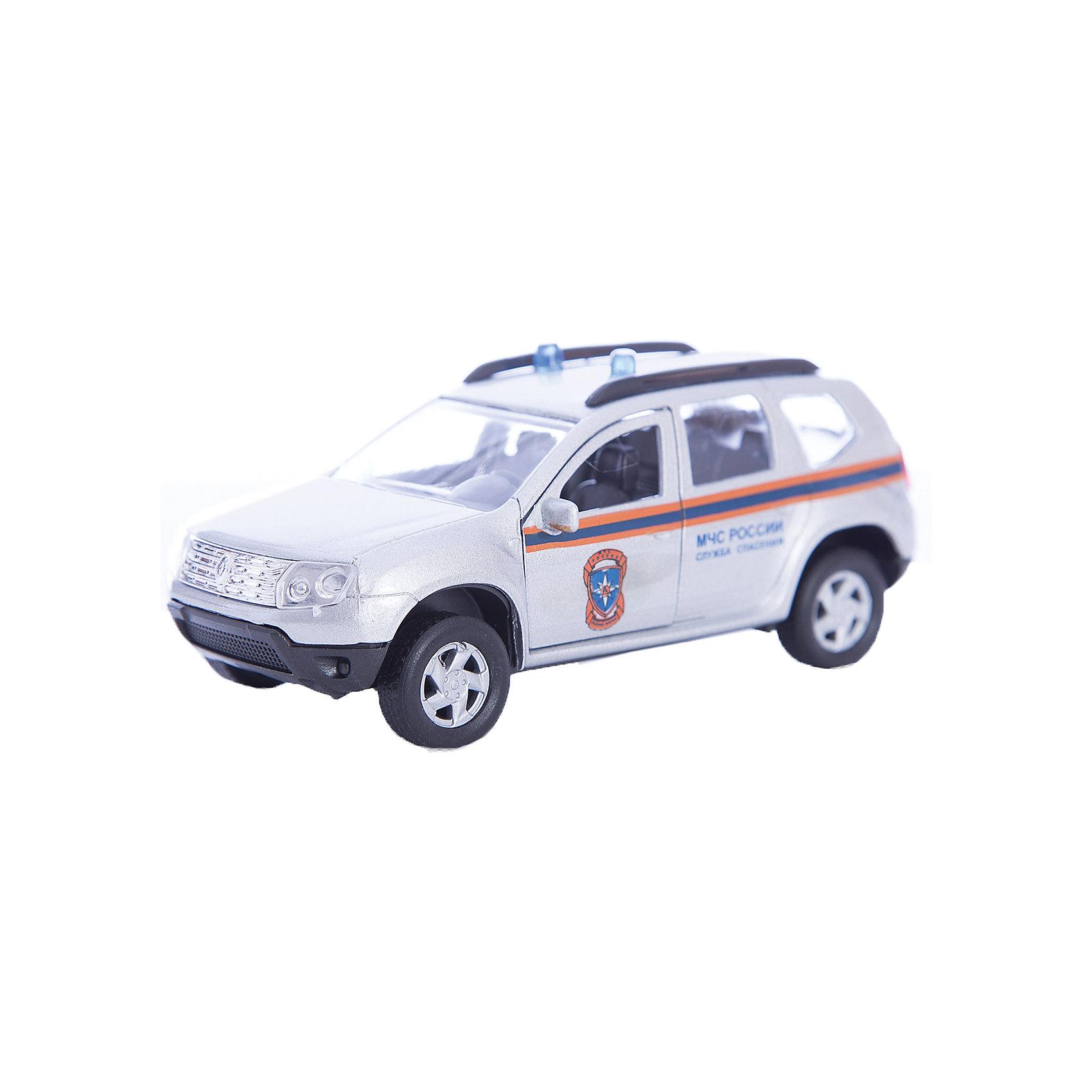 Машинка Renault Duster МЧС 1:38, AutotimeМашинки<br>Машинка Renault Duster МЧС 1:38, Autotime (Автотайм).<br><br>Характеристики:<br><br>• Масштаб 1:38<br>• Длина машинки: 11 см.<br>• Материал: металл, пластик<br>• Цвет: серебристый<br>• Упаковка: картонная коробка блистерного типа<br>• Размер упаковки: 16,5x5,7x7,2 см.<br><br>Машинка Renault Duster МЧС от Autotime (Автотайм) является уменьшенной копией служебной машины министерства по чрезвычайным ситуациям. Renault Duster - компактный кроссовер. Название можно перевести как Пыльник, т.е. это внедорожник — автомобиль для пыльных дорог. Модель имеет высокую степень детализации. Машинка окрашена в серебристый цвет с маркировкой МЧС России и оснащена проблесковыми маячками синего цвета. Корпус машинки изготовлен из металла, а все дополнительные элементы из пластика. Передние двери открываются, что позволяет рассмотреть салон изнутри в деталях. Машинка оснащена инерционным механизмом. Машинка МЧС Renault Duster станет хорошим подарком и ребенку, и коллекционеру моделей автомобилей.<br><br>Машинку Renault Duster МЧС 1:38, Autotime (Автотайм) можно купить в нашем интернет-магазине.<br><br>Ширина мм: 165<br>Глубина мм: 57<br>Высота мм: 75<br>Вес г: 23<br>Возраст от месяцев: 36<br>Возраст до месяцев: 2147483647<br>Пол: Мужской<br>Возраст: Детский<br>SKU: 5583860