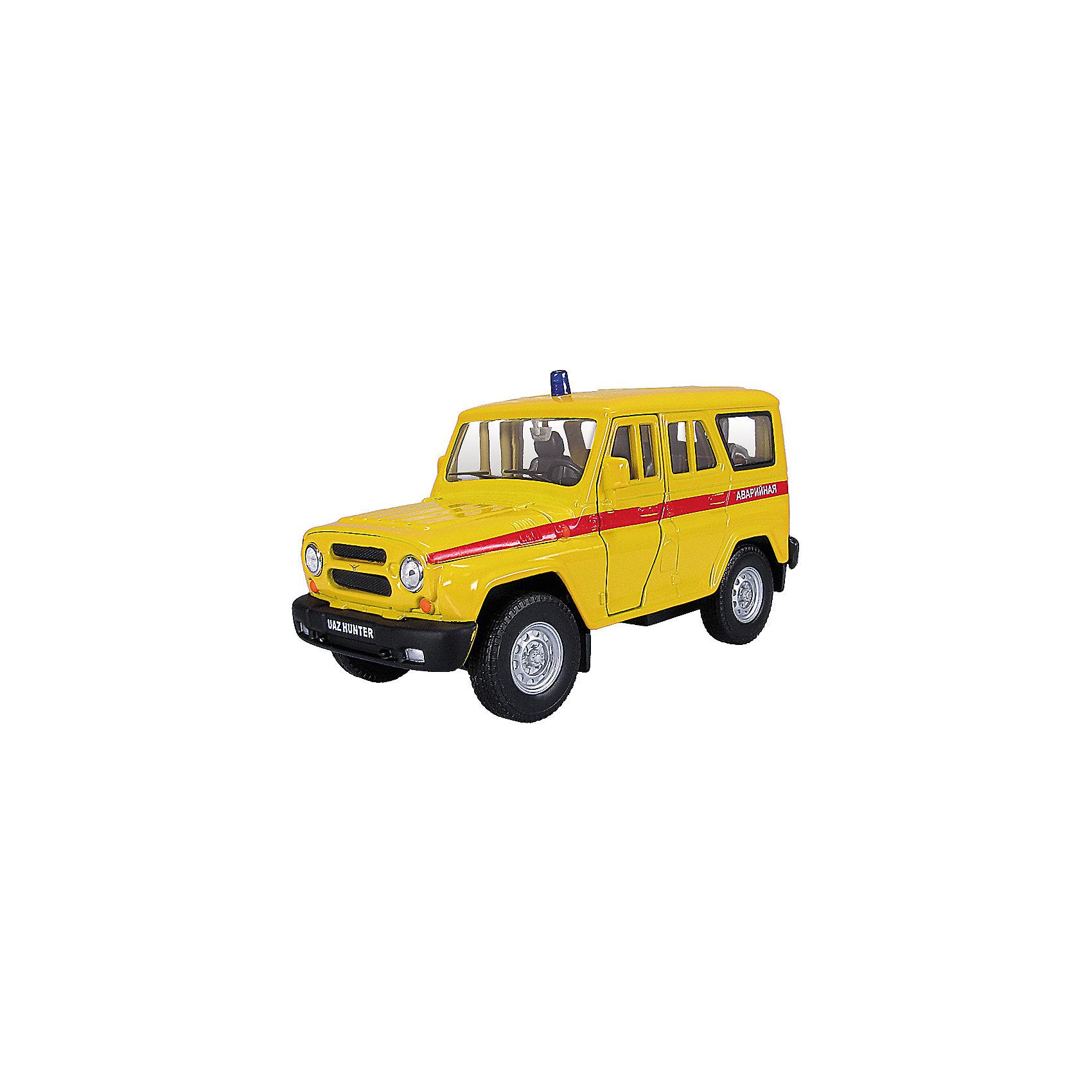 Машинка UAZ Hunter аварийная 1:36, AutotimeМашинки<br>Машинка UAZ Hunter аварийная 1:36, Autotime (Автотайм).<br><br>Характеристики:<br><br>• Масштаб 1:36<br>• Цвет: желтый<br>• Материал: металл, пластик<br>• Упаковка: картонная коробка блистерного типа<br>• Размер упаковки: 16,5x5,7x7,2 см.<br><br>Машинка UAZ Hunter аварийная от Autotime (Автотайм) является уменьшенной копией настоящего автомобиля. Модель отличается высокой степенью детализации. Автомобиль окрашен в желтый цвет, вдоль бортов проходит красная полоса с надписью Аварийная, на крыше имитация синей мигалки. Корпус машинки металлический с пластиковыми элементами. Передние двери открываются, что позволяет рассмотреть салон изнутри в деталях. Машинка оснащена инерционным механизмом. Машинка UAZ Hunter аварийная станет хорошим подарком и ребенку, и коллекционеру моделей автомобилей.<br><br>Машинку UAZ Hunter аварийную 1:36, Autotime (Автотайм) можно купить в нашем интернет-магазине.<br><br>Ширина мм: 165<br>Глубина мм: 57<br>Высота мм: 75<br>Вес г: 13<br>Возраст от месяцев: 36<br>Возраст до месяцев: 2147483647<br>Пол: Мужской<br>Возраст: Детский<br>SKU: 5583868