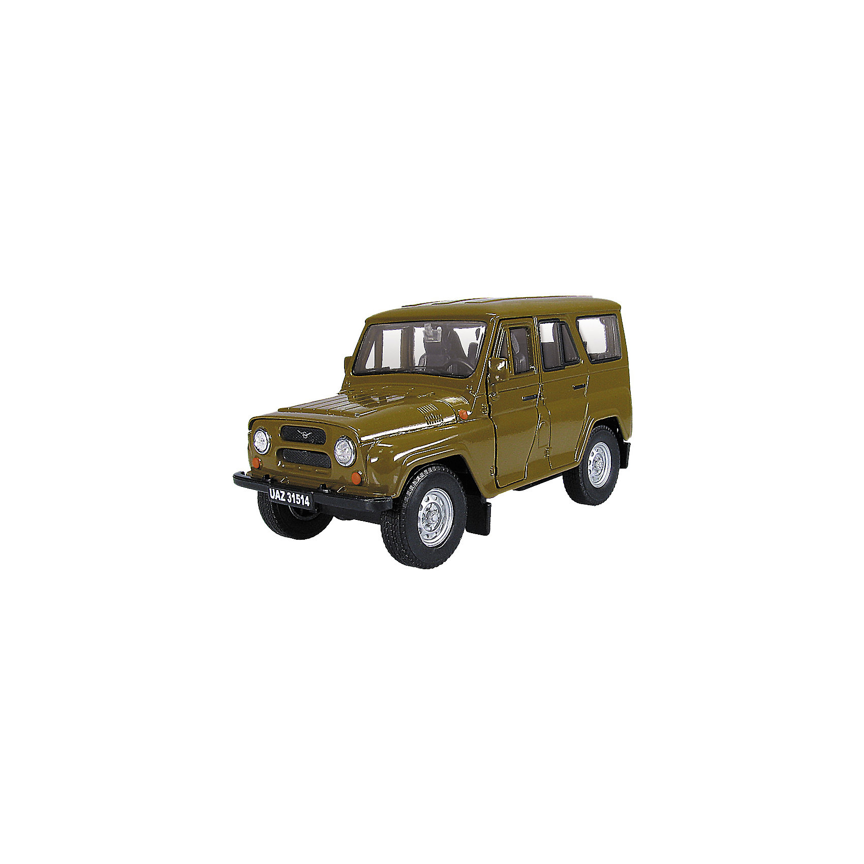 Машинка UAZ 31514 гражданская 1:36, AutotimeМашинки<br>Машинка UAZ 31514 гражданская 1:36, Autotime (Автотайм).<br><br>Характеристики:<br><br>• Масштаб 1:36<br>• Длина машинки: 11,5 см.<br>• Цвет: хаки<br>• Материал: металл, пластик<br>• Упаковка: картонная коробка блистерного типа<br>• Размер упаковки: 16,5x5,7x7,2 см.<br><br>Машинка UAZ 31514 гражданская от Autotime (Автотайм) является уменьшенной копией настоящего автомобиля. UAZ 31514 - полноприводный автомобиль повышенной проходимости. Выпускался в 1993 - 2003 годах. Модель отличается высокой степенью детализации. Корпус машинки металлический с пластиковыми элементами. Передние двери открываются, что позволяет рассмотреть салон изнутри в деталях. Машинка оснащена инерционным механизмом. Машинка UAZ 31514 гражданская, выпущенная в русской серии бренда Autotime (Автотайм), станет хорошим подарком и ребенку, и коллекционеру моделей автомобилей.<br><br>Машинку UAZ 31514 гражданскую 1:36, Autotime (Автотайм) можно купить в нашем интернет-магазине.<br><br>Ширина мм: 165<br>Глубина мм: 57<br>Высота мм: 75<br>Вес г: 13<br>Возраст от месяцев: 36<br>Возраст до месяцев: 2147483647<br>Пол: Мужской<br>Возраст: Детский<br>SKU: 5583870