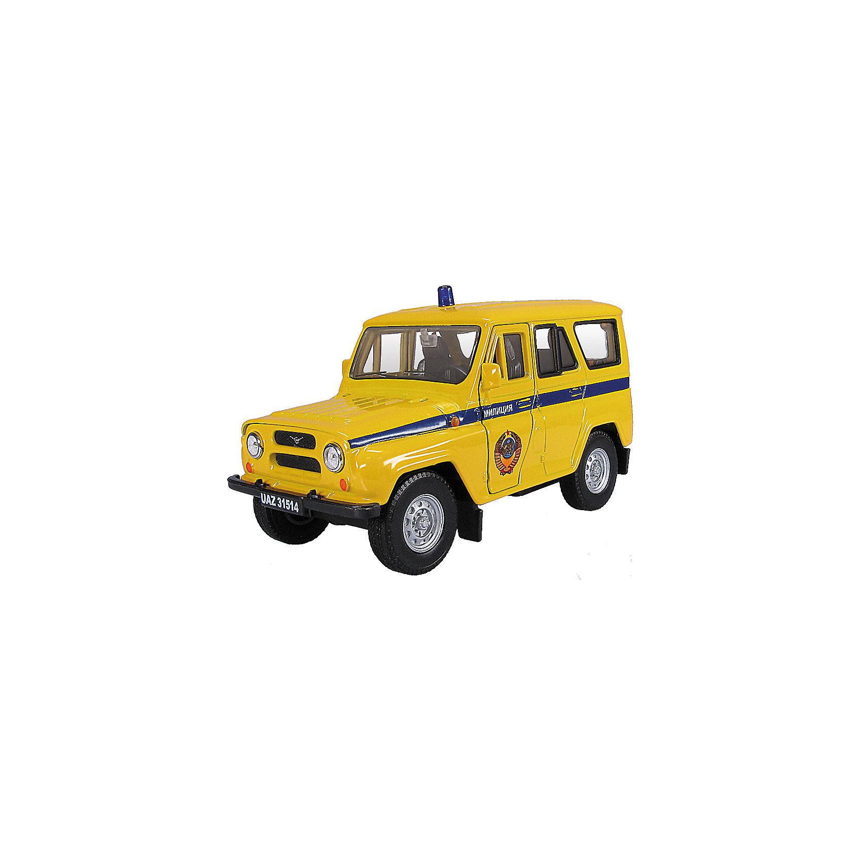 Машинка UAZ 31514 милиция СССР 1:36, AutotimeМашинки<br>Машинка UAZ 31514 милиция СССР 1:36, Autotime (Автотайм).<br><br>Характеристики:<br><br>• Масштаб 1:36<br>• Длина машинки: 11,5 см.<br>• Цвет: желтый<br>• Материал: металл, пластик<br>• Упаковка: картонная коробка блистерного типа<br>• Размер упаковки: 16,5x5,7x7,2 см.<br><br>Машинка UAZ 31514 милиция СССР от Autotime (Автотайм) является уменьшенной копией настоящего автомобиля. UAZ 31514 - полноприводный автомобиль повышенной проходимости. Выпускался в 1993 - 2003 годах. Модель отличается высокой степенью детализации. Автомобиль окрашен в желтый цвет, вдоль бортов проходит синяя полоса с надписью Милиция, на крыше расположена имитация синей мигалки, на передней двери изображен герб СССР. Корпус машинки металлический с пластиковыми элементами. Передние двери открываются, что позволяет рассмотреть салон изнутри в деталях. Машинка оснащена инерционным механизмом. Машинка UAZ 31514 милиция СССР, выпущенная в русской серии бренда Autotime (Автотайм), станет хорошим подарком и ребенку, и коллекционеру моделей автомобилей.<br><br>Машинку UAZ 31514 милиция СССР 1:36, Autotime (Автотайм) можно купить в нашем интернет-магазине.<br><br>Ширина мм: 165<br>Глубина мм: 57<br>Высота мм: 75<br>Вес г: 13<br>Возраст от месяцев: 36<br>Возраст до месяцев: 2147483647<br>Пол: Мужской<br>Возраст: Детский<br>SKU: 5583871