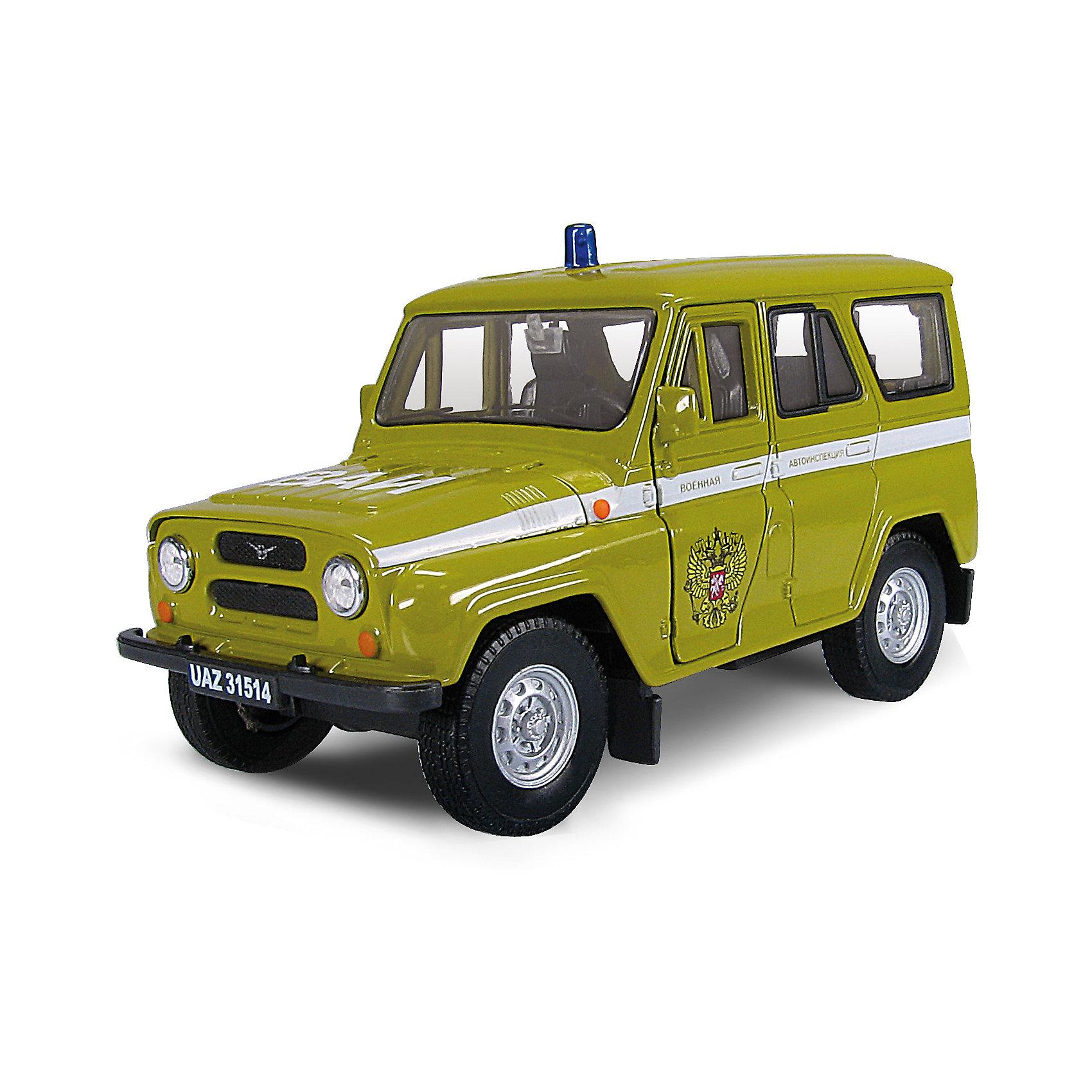 Машинка UAZ 31514 ВАИ 1:36, AutotimeМашинки<br>Машинка UAZ 31514 ВАИ 1:36, Autotime (Автотайм).<br><br>Характеристики:<br><br>• Масштаб 1:36<br>• Длина машинки: 11,5 см.<br>• Цвет: зеленый<br>• Материал: металл, пластик<br>• Упаковка: картонная коробка блистерного типа<br>• Размер упаковки: 16,5x5,7x7,2 см.<br><br>Машинка UAZ 31514 ВАИ от Autotime (Автотайм) является уменьшенной копией настоящего автомобиля. UAZ 31514 - полноприводный автомобиль повышенной проходимости. Выпускался в 1993 - 2003 годах. Модель отличается высокой степенью детализации. Автомобиль окрашен в зеленый цвет, вдоль бортов проходит полоса с надписью Военная автоинспекция, на крыше расположена, имитация синей мигалки, на передней двери изображен герб РФ. Корпус машинки металлический с пластиковыми элементами. Передние двери открываются, что позволяет рассмотреть салон изнутри в деталях. Машинка оснащена инерционным механизмом. Машинка UAZ 31514 ВАИ, выпущенная в русской серии бренда Autotime (Автотайм), станет хорошим подарком и ребенку, и коллекционеру моделей автомобилей.<br><br>Машинку UAZ 31514 ВАИ 1:36, Autotime (Автотайм) можно купить в нашем интернет-магазине.<br><br>Ширина мм: 165<br>Глубина мм: 57<br>Высота мм: 75<br>Вес г: 13<br>Возраст от месяцев: 36<br>Возраст до месяцев: 2147483647<br>Пол: Мужской<br>Возраст: Детский<br>SKU: 5583874