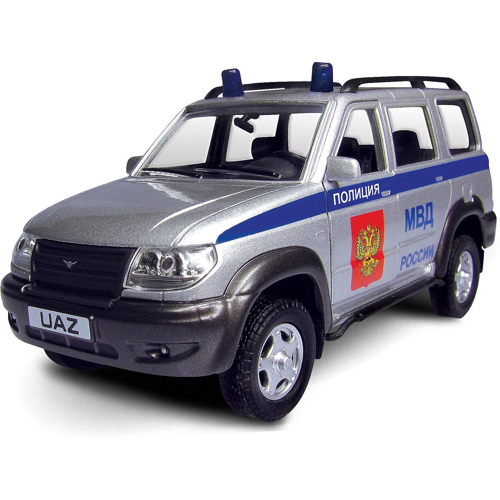 Машинка UAZ Patriot полиция 1:43, AutotimeМашинки<br>Машинка UAZ Patriot полиция 1:43, Autotime (Автотайм).<br><br>Характеристики:<br><br>• Масштаб 1:43<br>• Длина машинки: 11,5 см.<br>• Цвет: серебристый<br>• Материал: металл, пластик<br>• Упаковка: картонная коробка блистерного типа<br>• Размер упаковки: 16,5x5,7x7,2 см.<br><br>Машинка UAZ Patriot полиция от Autotime (Автотайм) является уменьшенной копией настоящего автомобиля. Модель отличается высокой степенью детализации. Корпус машинки металлический с пластиковыми элементами. Автомобиль очень реалистично раскрашен. Передние двери открываются, что позволяет рассмотреть салон изнутри в деталях. Машинка оснащена инерционным механизмом. Машинка UAZ Patriot полиция, выпущенная в русской серии бренда Autotime (Автотайм), станет хорошим подарком и ребенку, и коллекционеру моделей автомобилей.<br><br>Машинку UAZ Patriot полиция 1:43, Autotime (Автотайм) можно купить в нашем интернет-магазине.<br><br>Ширина мм: 165<br>Глубина мм: 57<br>Высота мм: 75<br>Вес г: 13<br>Возраст от месяцев: 36<br>Возраст до месяцев: 2147483647<br>Пол: Мужской<br>Возраст: Детский<br>SKU: 5583876