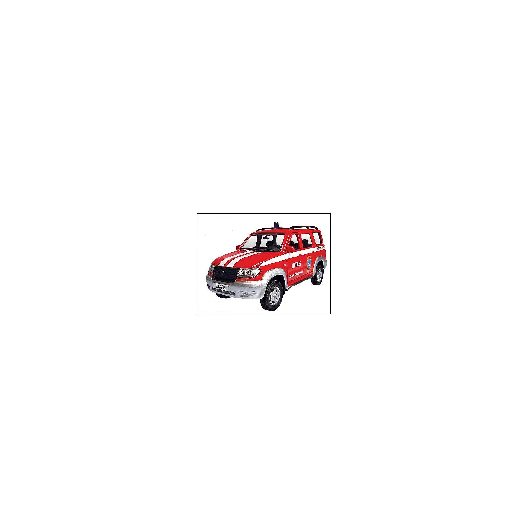 Машинка UAZ Patriot пожарная охрана 1:43, AutotimeМашинки<br>Машинка UAZ Patriot пожарная охрана 1:43, Autotime (Автотайм).<br><br>Характеристики:<br><br>• Масштаб 1:43<br>• Длина машинки: 11,5 см.<br>• Цвет: ярко-красный<br>• Материал: металл, пластик<br>• Упаковка: картонная коробка блистерного типа<br>• Размер упаковки: 16,5x5,7x7,2 см.<br><br>Машинка UAZ Patriot пожарная охрана от Autotime (Автотайм) является уменьшенной копией настоящего автомобиля. Модель отличается высокой степенью детализации. Корпус машинки металлический с пластиковыми элементами. Автомобиль очень реалистично раскрашен. Передние двери открываются, что позволяет рассмотреть салон изнутри в деталях. Машинка оснащена инерционным механизмом. Машинка UAZ Patriot пожарная охрана, выпущенная в русской серии бренда Autotime (Автотайм), станет хорошим подарком и ребенку, и коллекционеру моделей автомобилей.<br><br>Машинку UAZ Patriot пожарная охрана 1:43, Autotime (Автотайм) можно купить в нашем интернет-магазине.<br><br>Ширина мм: 165<br>Глубина мм: 57<br>Высота мм: 75<br>Вес г: 13<br>Возраст от месяцев: 36<br>Возраст до месяцев: 2147483647<br>Пол: Мужской<br>Возраст: Детский<br>SKU: 5583877