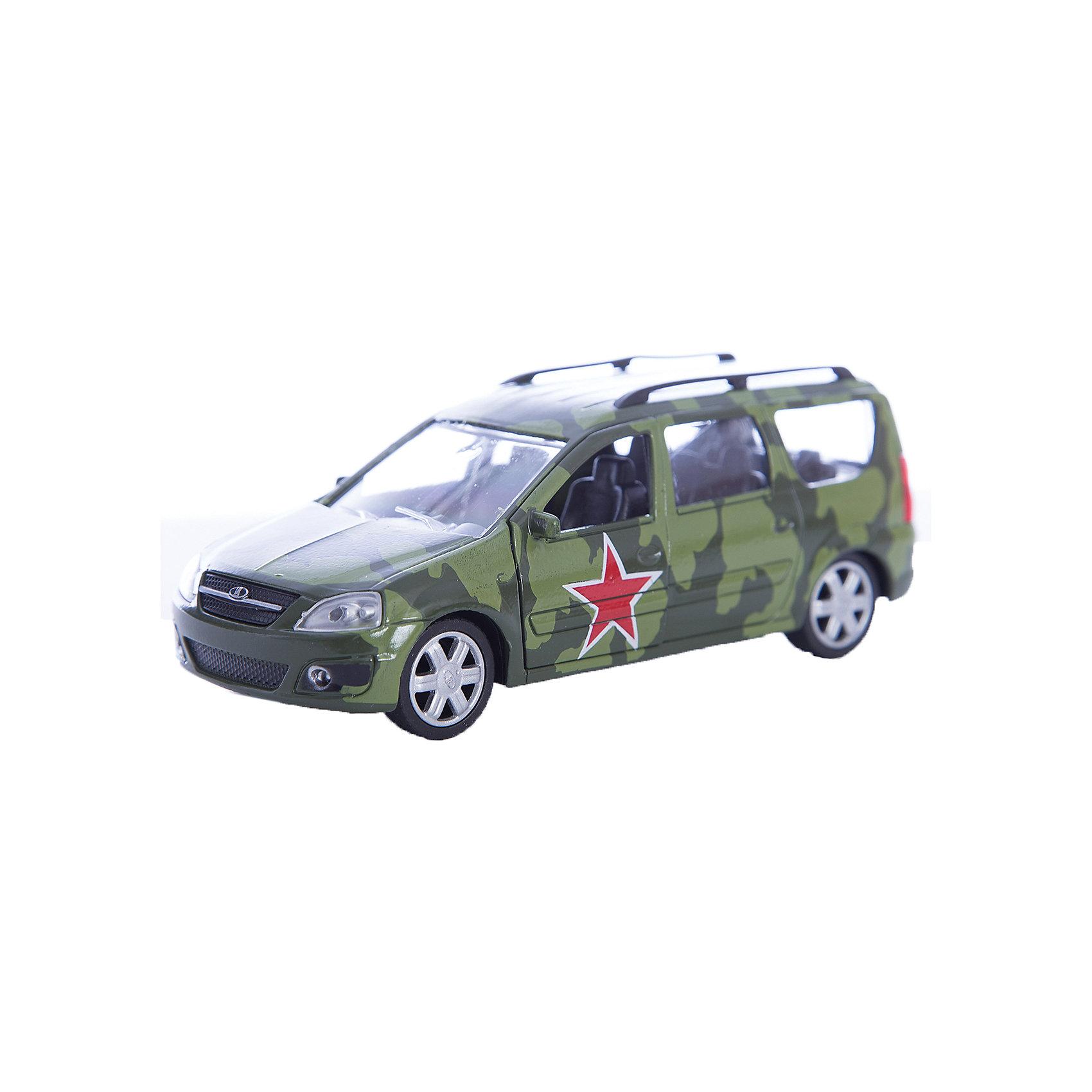 Машинка Lada Largus армейская 1:38, AutotimeМашинки<br>Машинка Lada Largus армейская 1:38, Autotime (Автотайм).<br><br>Характеристики:<br><br>• Масштаб 1:38<br>• Цвет: лесной камуфляж<br>• Материал: металл, пластик<br>• Упаковка: картонная коробка блистерного типа<br>• Размер упаковки: 16,5x5,7x7,2 см.<br><br>Машинка Lada Largus армейская от Autotime (Автотайм) является уменьшенной копией настоящего автомобиля. Модель отличается высокой степенью детализации. Корпус машинки металлический с пластиковыми элементами. Автомобиль очень реалистично раскрашен. Передние двери открываются, что позволяет рассмотреть салон изнутри в деталях. Машинка оснащена инерционным механизмом. Машинка Lada Largus армейская, выпущенная в русской серии бренда Autotime (Автотайм), станет хорошим подарком и ребенку, и коллекционеру моделей автомобилей.<br><br>Машинку Lada Largus армейскую 1:38, Autotime (Автотайм) можно купить в нашем интернет-магазине.<br><br>Ширина мм: 165<br>Глубина мм: 57<br>Высота мм: 75<br>Вес г: 13<br>Возраст от месяцев: 36<br>Возраст до месяцев: 2147483647<br>Пол: Мужской<br>Возраст: Детский<br>SKU: 5583882