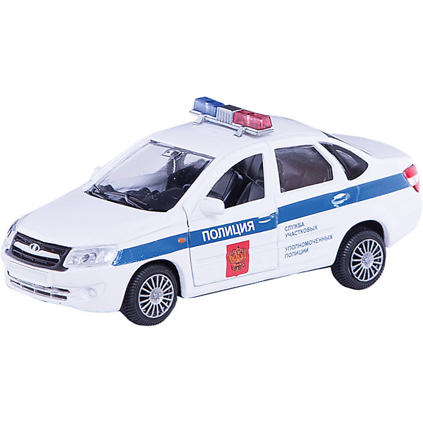 Машинка Lada Granta полиция 1:36, AutotimeМашинки<br>Характеристики товара:<br><br>• цвет: белый<br>• возраст: от 3 лет<br>• материал: металл, пластик<br>• размер: 16,5х7,х5,7 см<br>• вес: 100 г<br>• масштаб: 1:36<br>• колеса вращаются<br>• хорошая детализация<br>• открываются двери<br>• страна бренда: Россия<br>• страна производства: Китай<br><br>Коллекционная машинка LADA GRANTA полиция от бренда AUTOTIME станет отличным подарком для мальчика. Подробная детализация машинки порадует увлеченного коллекционера, а открывающиеся двери и свободно вращающиеся колеса придутся по душе юному владельцу игрушечного гаража. Эта игрушка подарит восторг и радость вашему ребенку. <br>Игрушка также воздействует на наглядно-образное мышление, логическое мышление, развивает мелкую моторику. Изделие выполнено из сертифицированных материалов, безопасных для детей.<br><br>Машинку «Lada Granta» полиция от бренда AUTOTIME можно купить в нашем интернет-магазине.<br>Ширина мм: 165; Глубина мм: 57; Высота мм: 75; Вес г: 13; Возраст от месяцев: 36; Возраст до месяцев: 2147483647; Пол: Мужской; Возраст: Детский; SKU: 5583886;