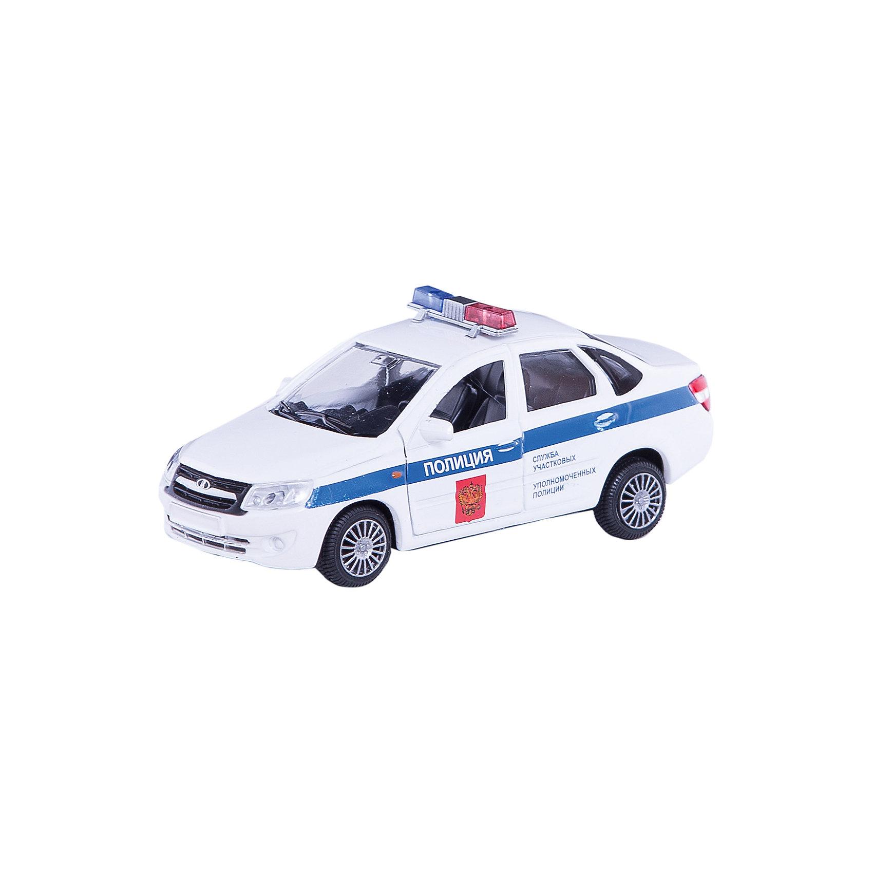 Машинка Lada Granta полиция 1:36, AutotimeМашинки<br>Характеристики товара:<br><br>• цвет: белый<br>• возраст: от 3 лет<br>• материал: металл, пластик<br>• размер: 16,5х7,х5,7 см<br>• вес: 100 г<br>• масштаб: 1:36<br>• колеса вращаются<br>• хорошая детализация<br>• открываются двери<br>• страна бренда: Россия<br>• страна производства: Китай<br><br>Коллекционная машинка LADA GRANTA полиция от бренда AUTOTIME станет отличным подарком для мальчика. Подробная детализация машинки порадует увлеченного коллекционера, а открывающиеся двери и свободно вращающиеся колеса придутся по душе юному владельцу игрушечного гаража. Эта игрушка подарит восторг и радость вашему ребенку. <br>Игрушка также воздействует на наглядно-образное мышление, логическое мышление, развивает мелкую моторику. Изделие выполнено из сертифицированных материалов, безопасных для детей.<br><br>Машинку «Lada Granta» полиция от бренда AUTOTIME можно купить в нашем интернет-магазине.<br><br>Ширина мм: 165<br>Глубина мм: 57<br>Высота мм: 75<br>Вес г: 13<br>Возраст от месяцев: 36<br>Возраст до месяцев: 2147483647<br>Пол: Мужской<br>Возраст: Детский<br>SKU: 5583886