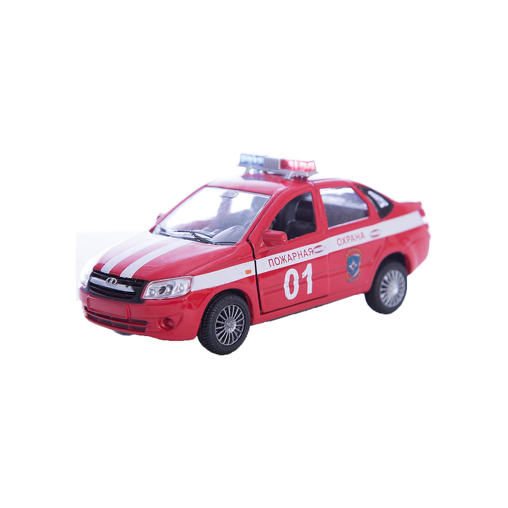 Машинка Lada Granta пожарная охрана 1:36, AutotimeМашинки<br>Характеристики товара:<br><br>• цвет: красный<br>• возраст: от 3 лет<br>• материал: металл, пластик<br>• размер: 16,5х7,х5,7 см<br>• вес: 100 г<br>• масштаб: 1:36<br>• колеса вращаются<br>• хорошая детализация<br>• открываются двери<br>• страна бренда: Россия<br>• страна производства: Китай<br><br>Коллекционная машинка LADA GRANTA пожарная охрана от бренда AUTOTIME станет отличным подарком для мальчика. Подробная детализация машинки порадует увлеченного коллекционера, а открывающиеся двери и свободно вращающиеся колеса придутся по душе юному владельцу игрушечного гаража. Эта игрушка подарит восторг и радость вашему ребенку. <br><br>Игрушка также воздействует на наглядно-образное мышление, логическое мышление, развивает мелкую моторику. Изделие выполнено из сертифицированных материалов, безопасных для детей.<br><br>Машинку «Lada Granta» пожарная охрана от бренда AUTOTIME можно купить в нашем интернет-магазине.<br><br>Ширина мм: 165<br>Глубина мм: 57<br>Высота мм: 75<br>Вес г: 13<br>Возраст от месяцев: 36<br>Возраст до месяцев: 2147483647<br>Пол: Мужской<br>Возраст: Детский<br>SKU: 5583887